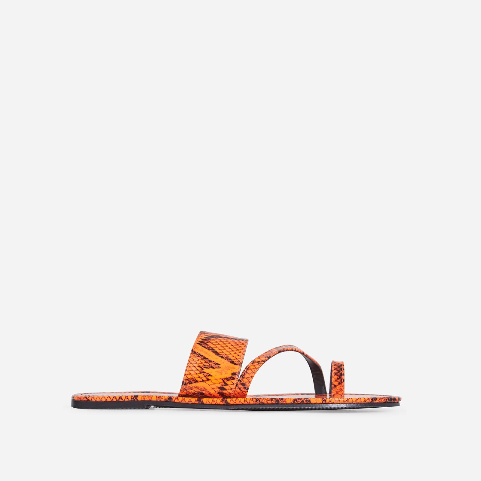 Brock Toe Strap Slider In Orange Snake Print Faux Leather