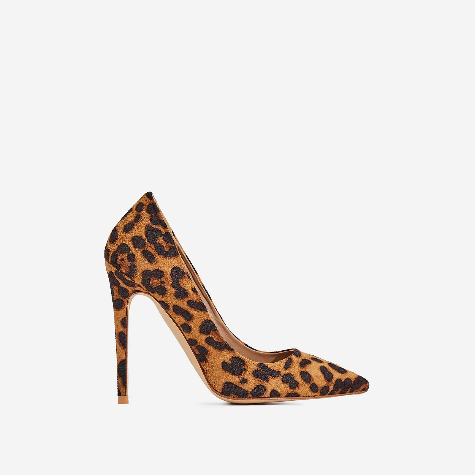 Bronte Court Heel In Tan Leopard Print Faux Suede