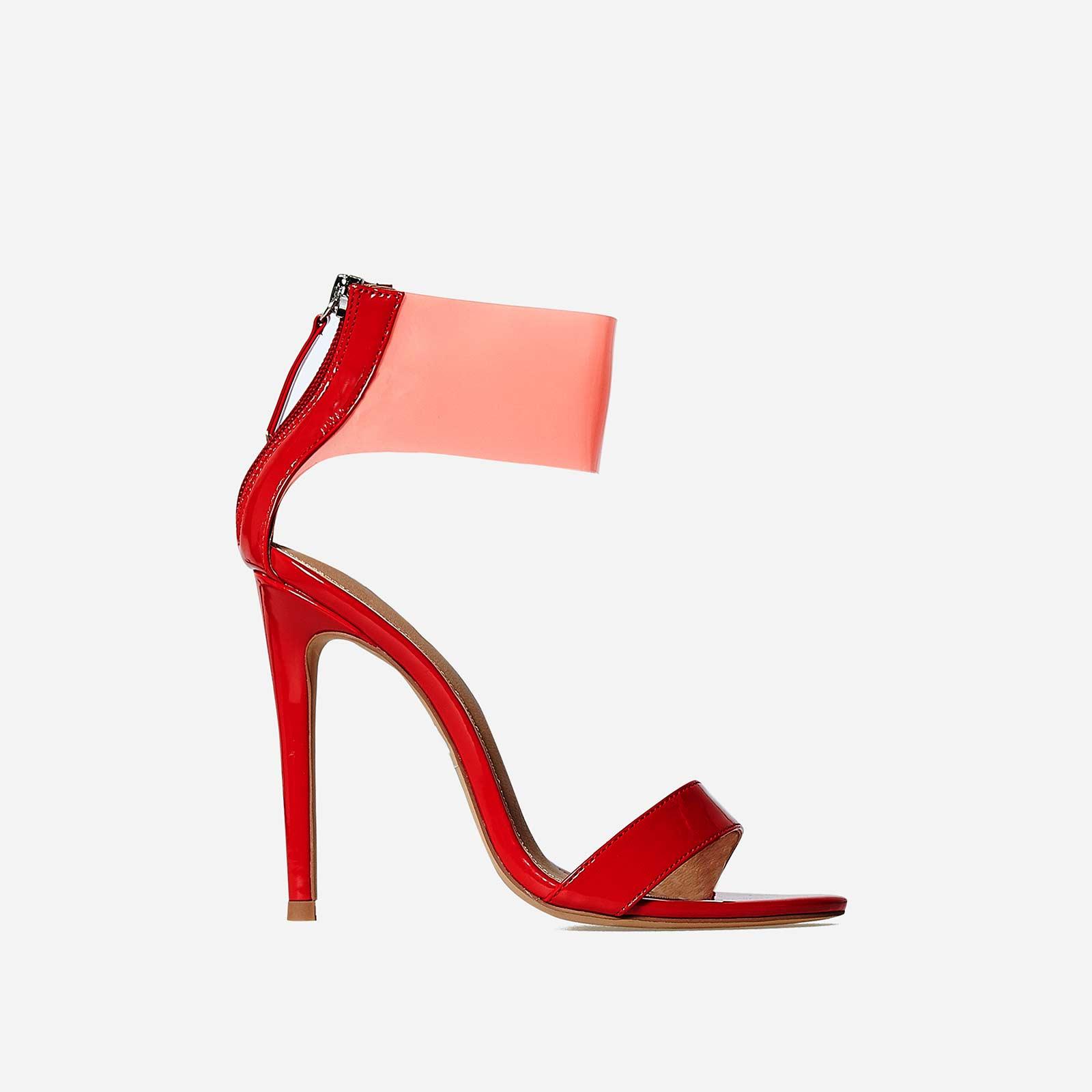 Britt Perspex Cuff Heel In Red Patent