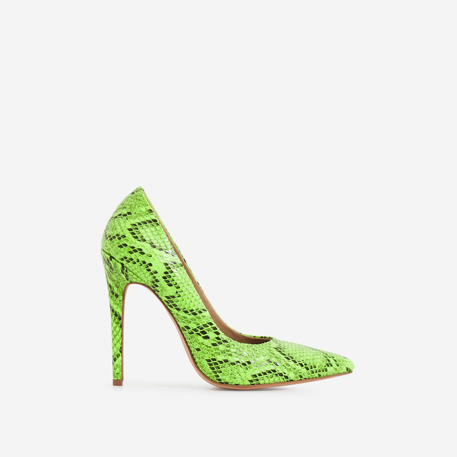 Bronte Court Heel In Neon Green Snake Print Faux Leather
