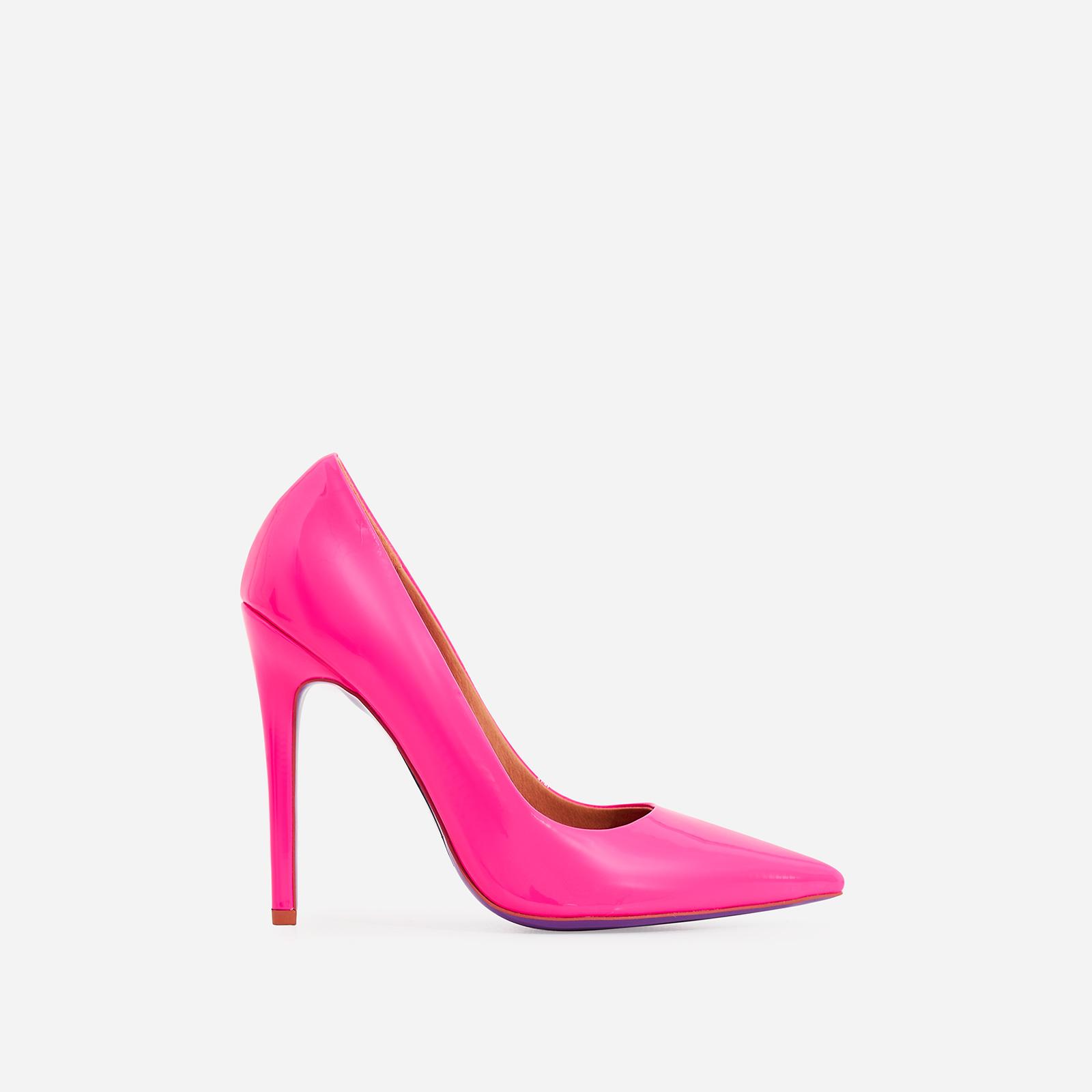 Bronte Court Heel In Neon Pink Patent
