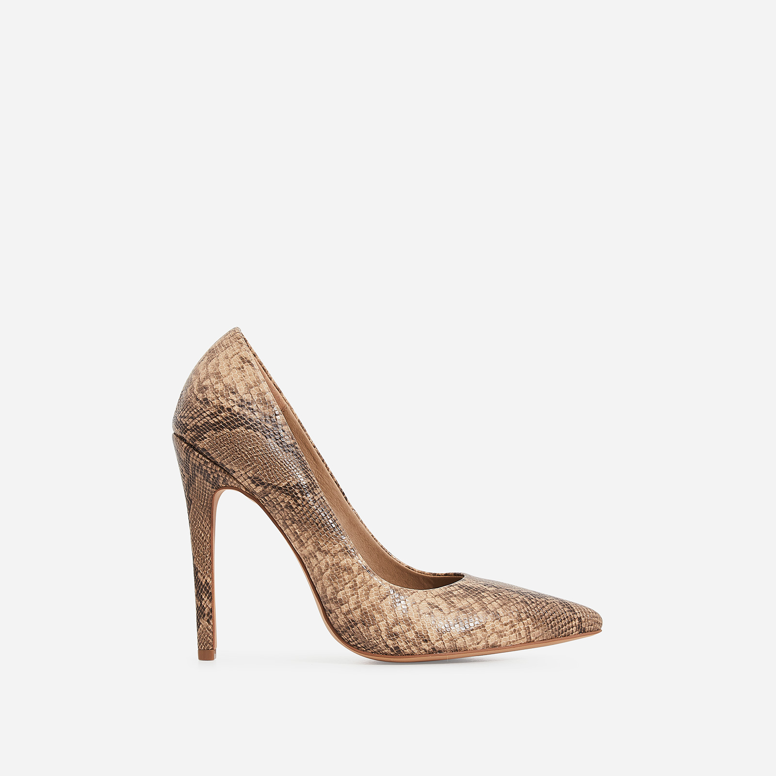 Bronte Court Heel In Nude Snake Print Faux Leather
