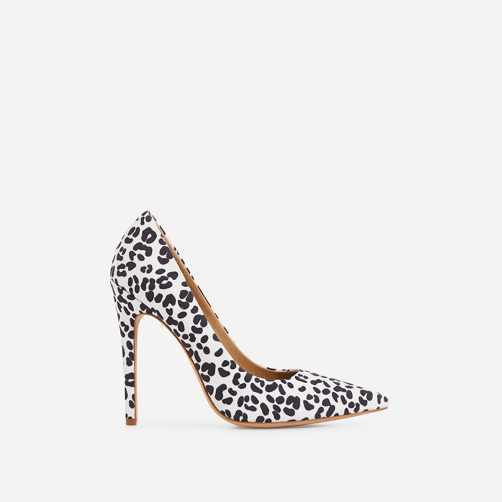 Bronte Court Heel In White Leopard Print Faux Suede