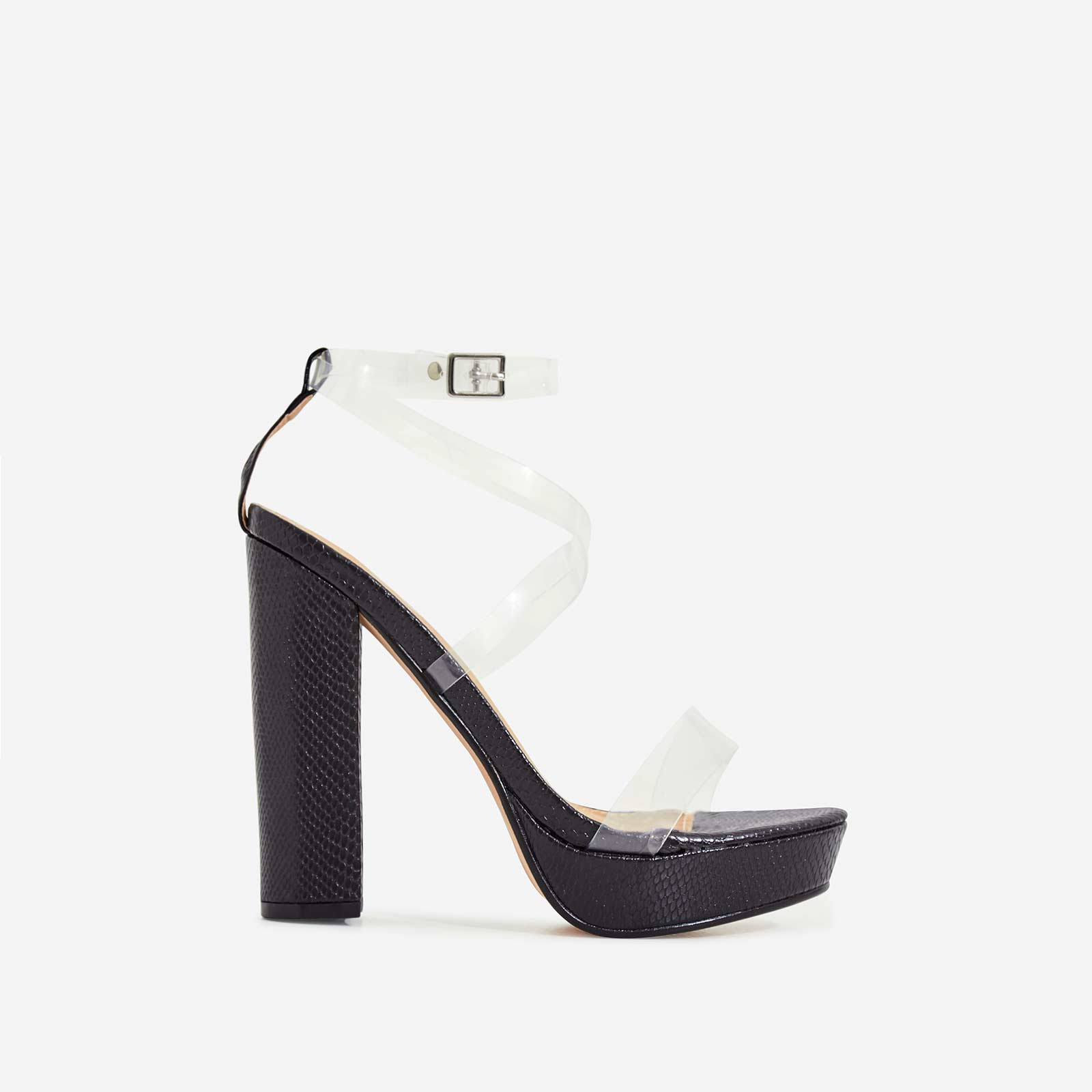 Bumble Perspex Platform Block Heel In Black Sanke Print Faux Leather