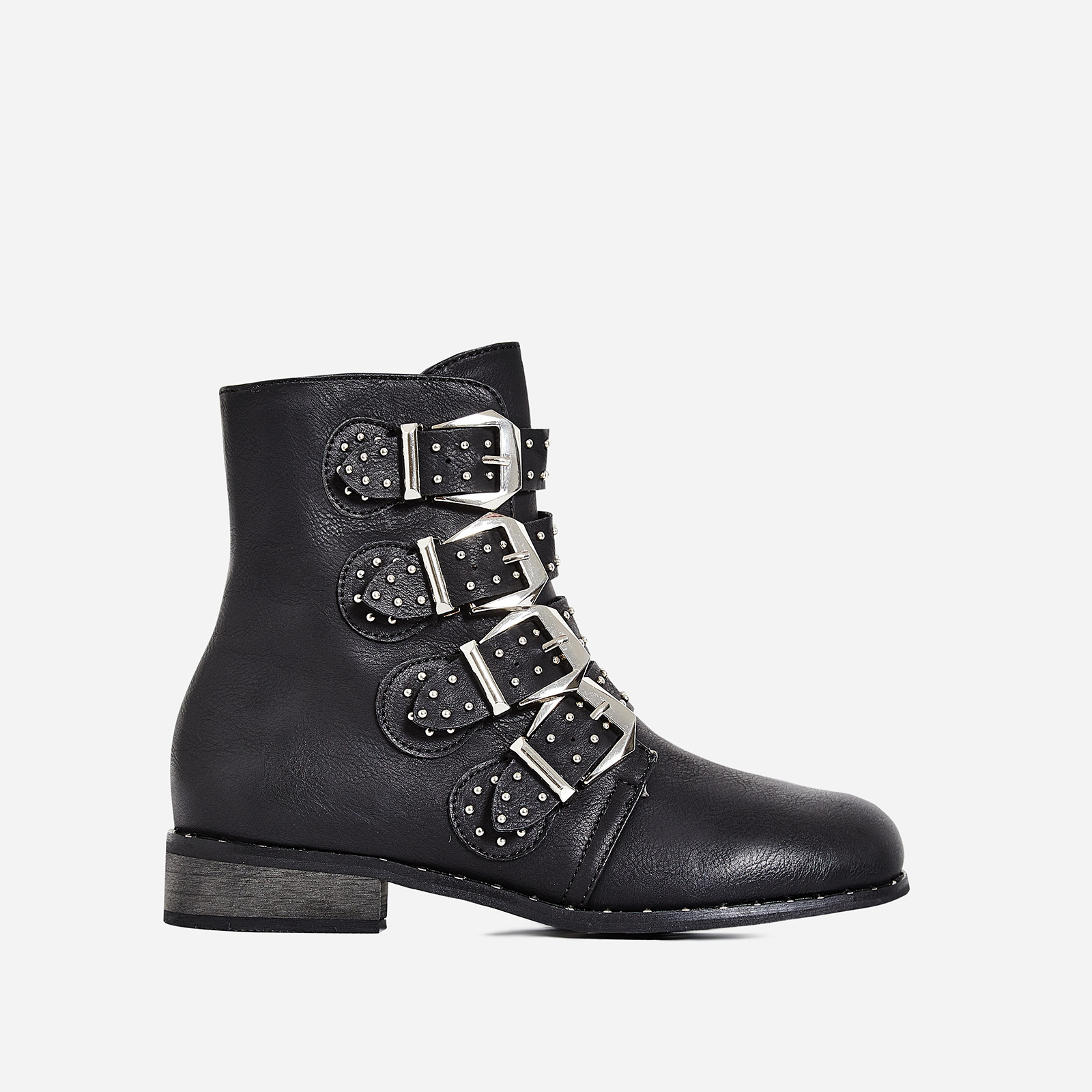 Caleb Studded Buckle Detail Ankle Biker Boot In Black Faux Leather