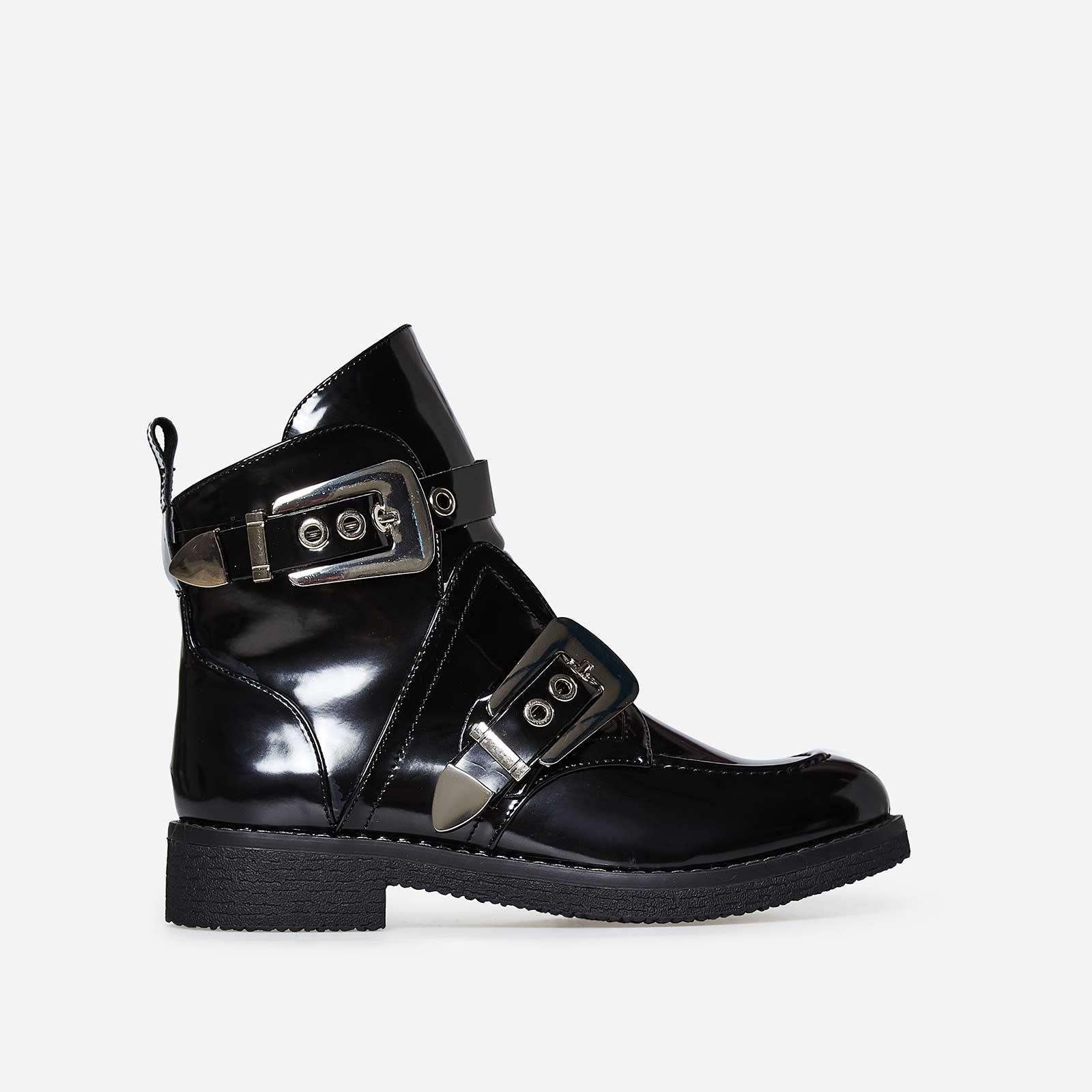 Veyron Buckle Detail Biker Boot In Black Patent