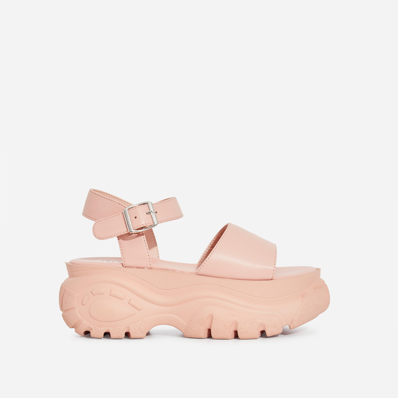 Cade Chunky Sole Sandal In Nude Faux Leather