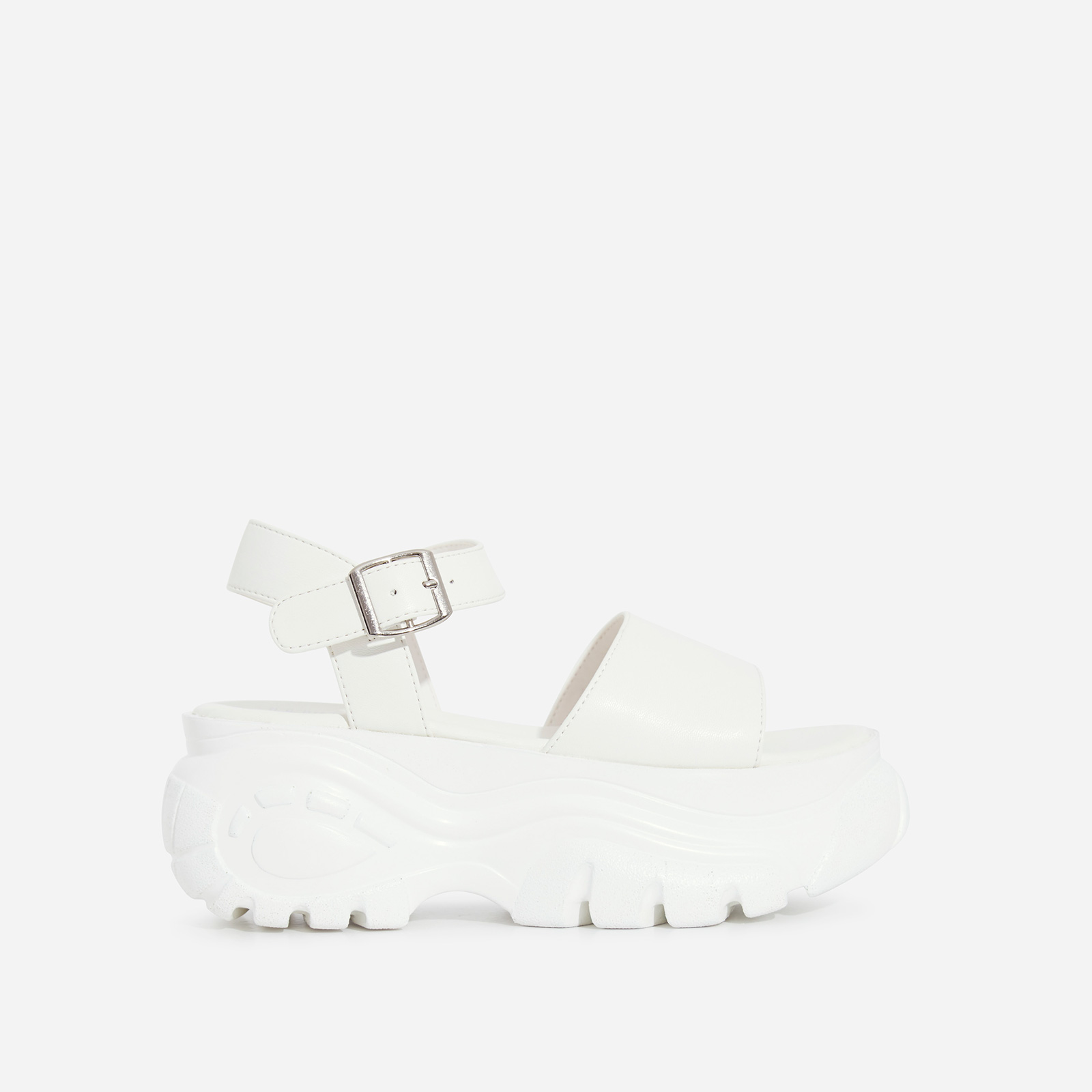 Cade Chunky Sole Sandal In White Faux Leather