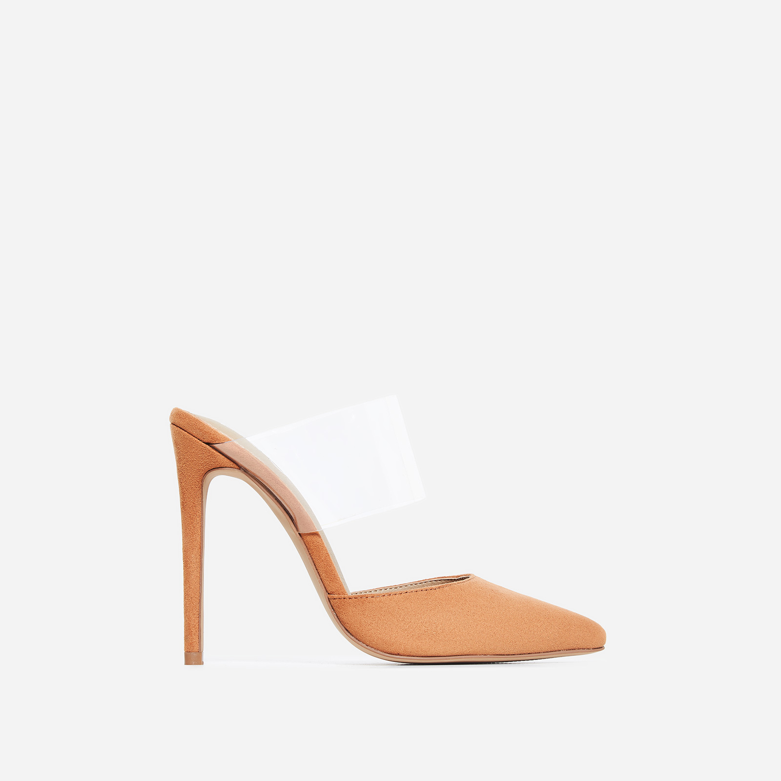 Caillin Perspex Mule In Tan Faux Suede