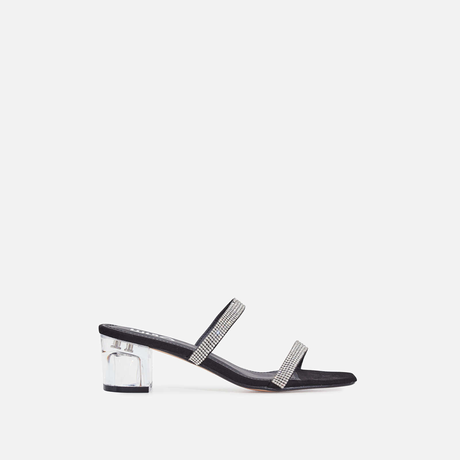 Cameo Diamante Detail Square Toe Perspex Midi Block Heel Mule In Black Faux Suede