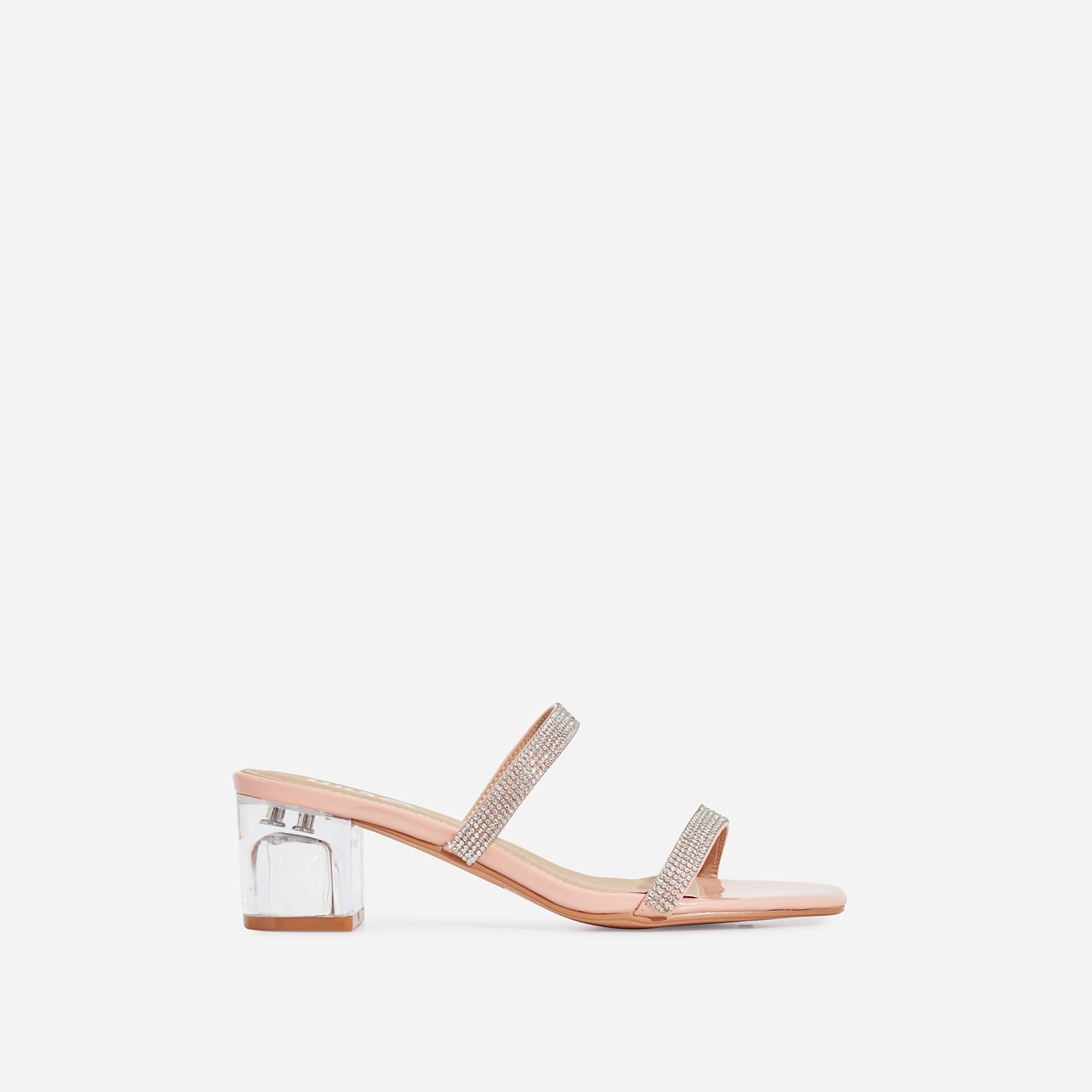 Cameo Diamante Detail Square Toe Perspex Midi Block Heel Mule In Nude Patent