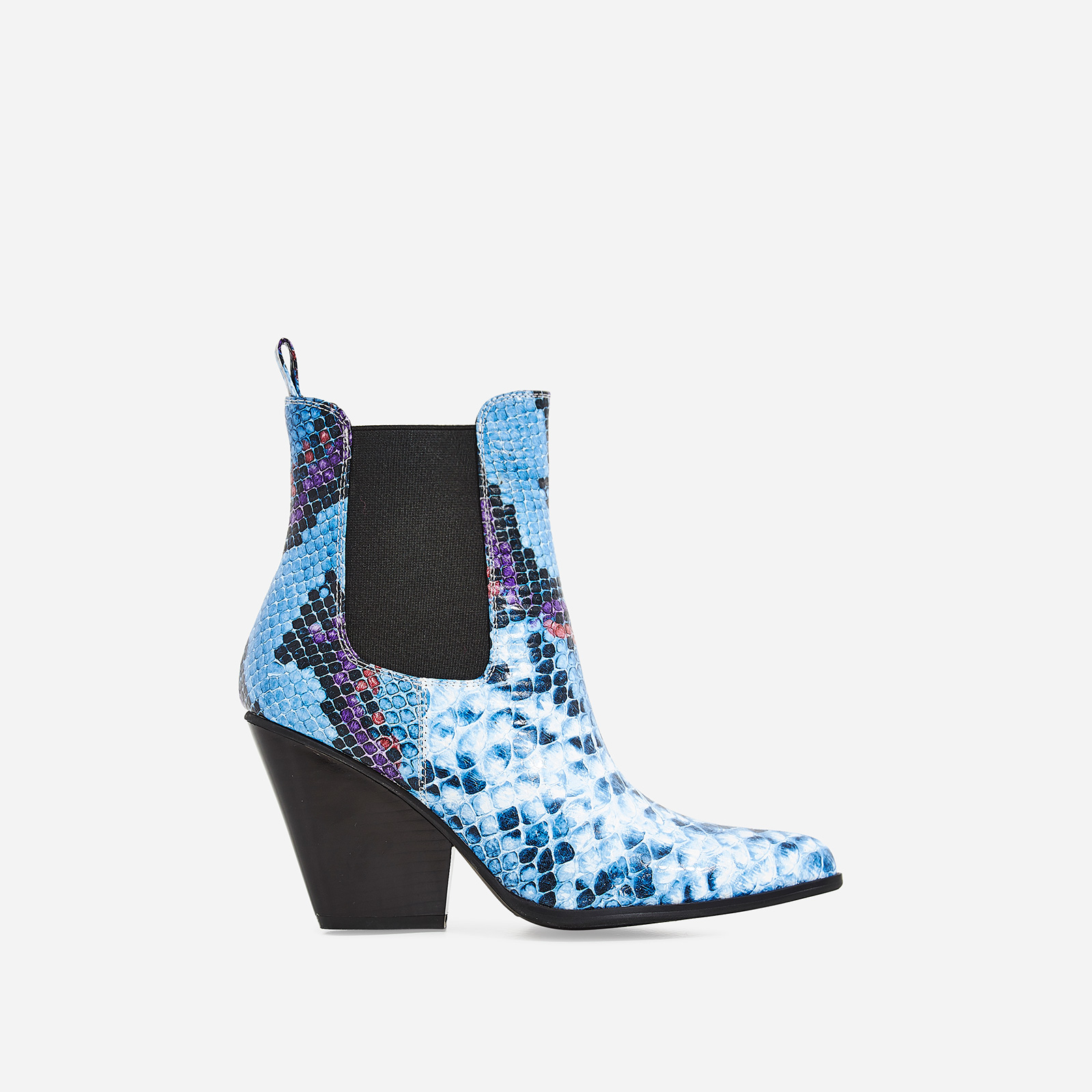 Camille Western Ankle Boot In Blue Snake Print Faux Leather 63ba0fc98b02