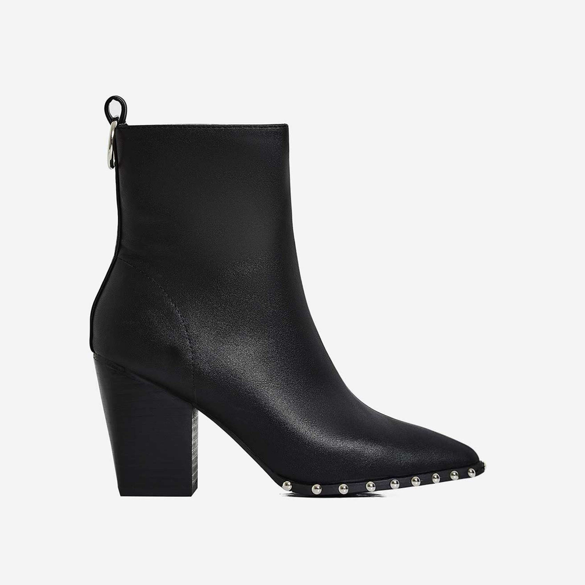 Candice Studded Detail Block Heel Ankle Boot In Black Faux Leather