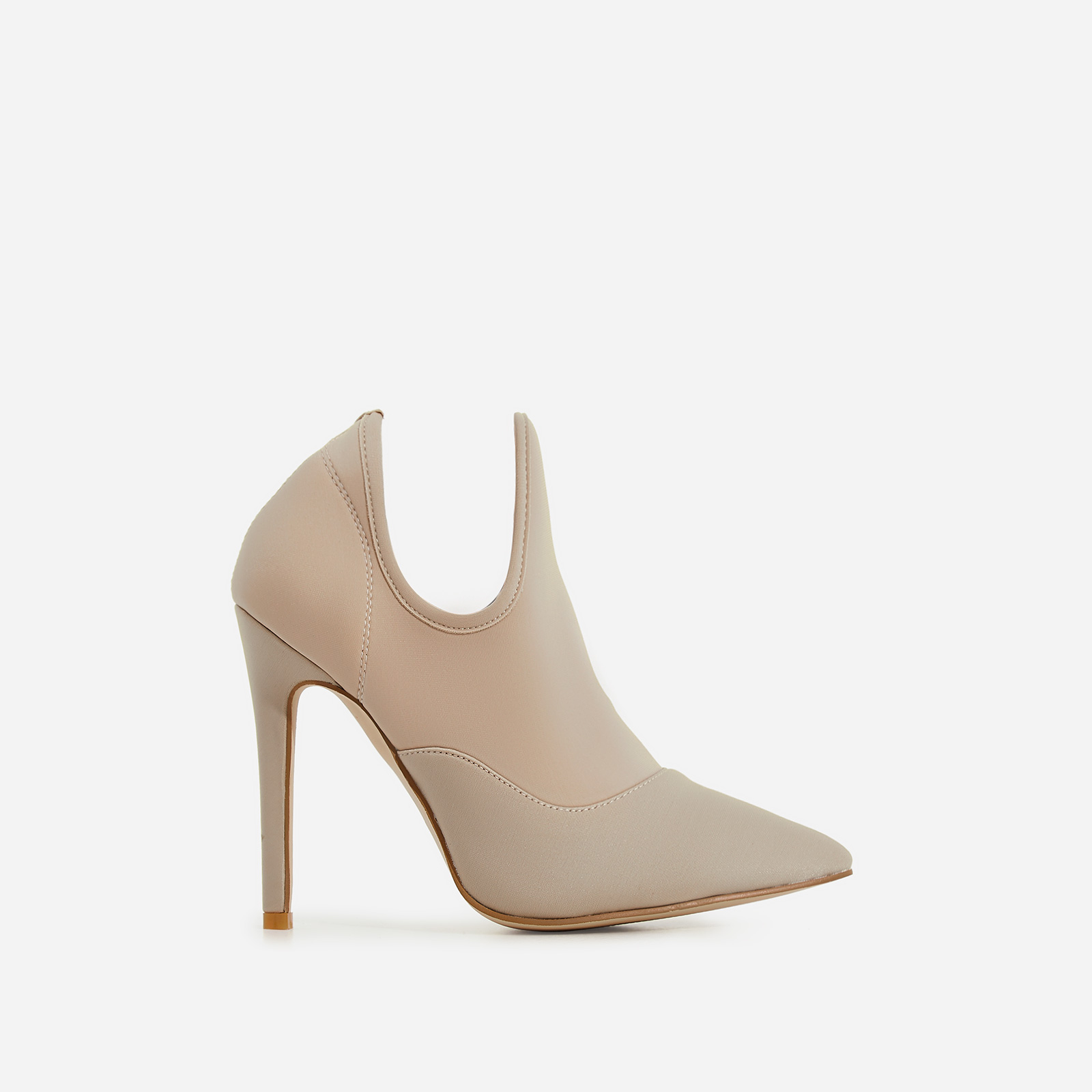 Caris Pointed Toe Ankle Boot In Nude Lycra