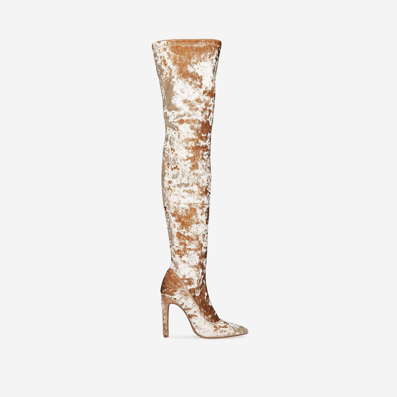 Carey Stiletto Over The Knee Long Boot In Nude Velvet