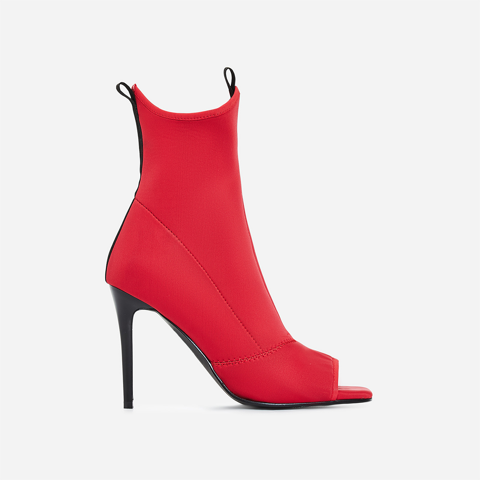 Carter Peep Toe Ankle Sock Boot In Red Lycra