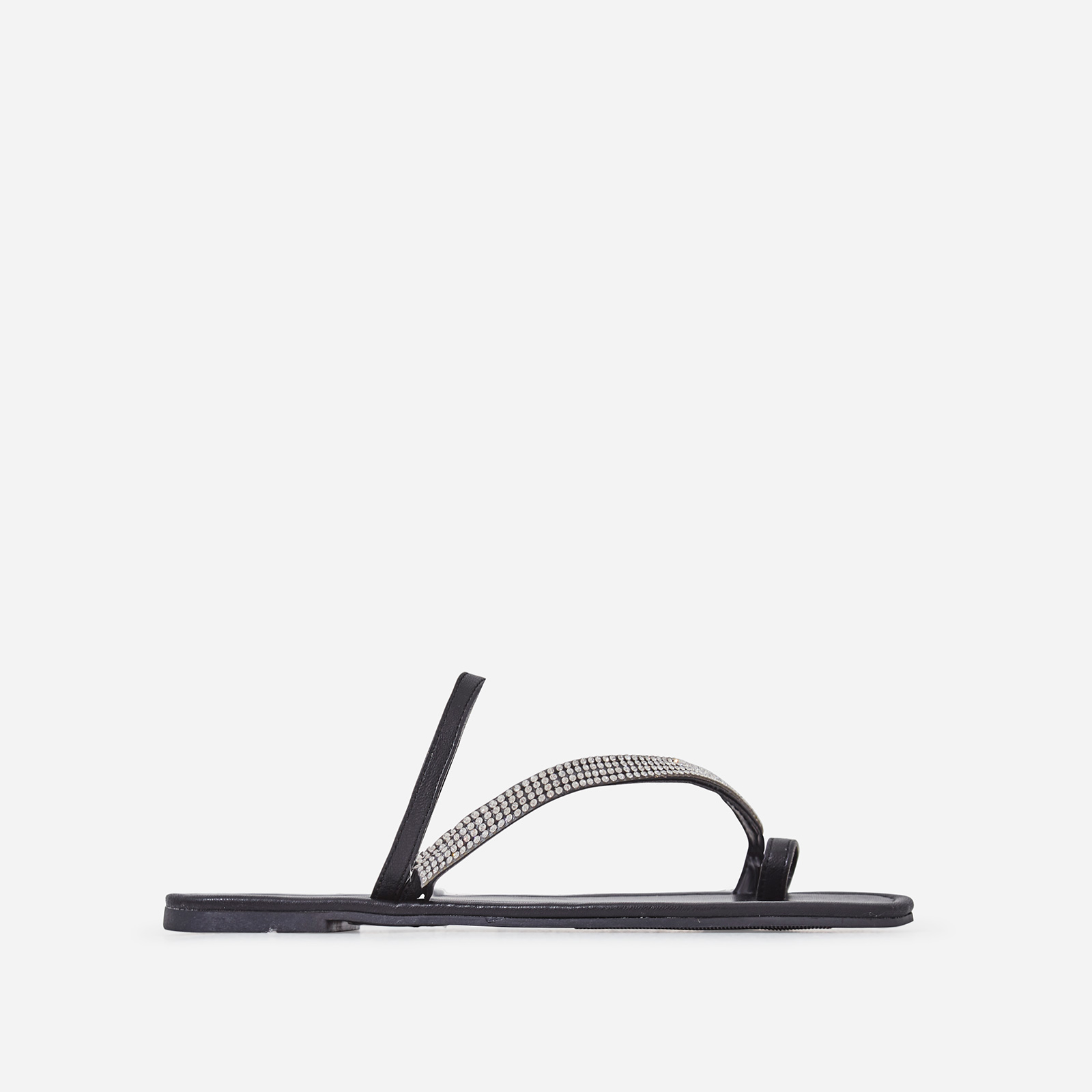 Casta Diamante Detail Toe Strap Slider In Black Faux Leather