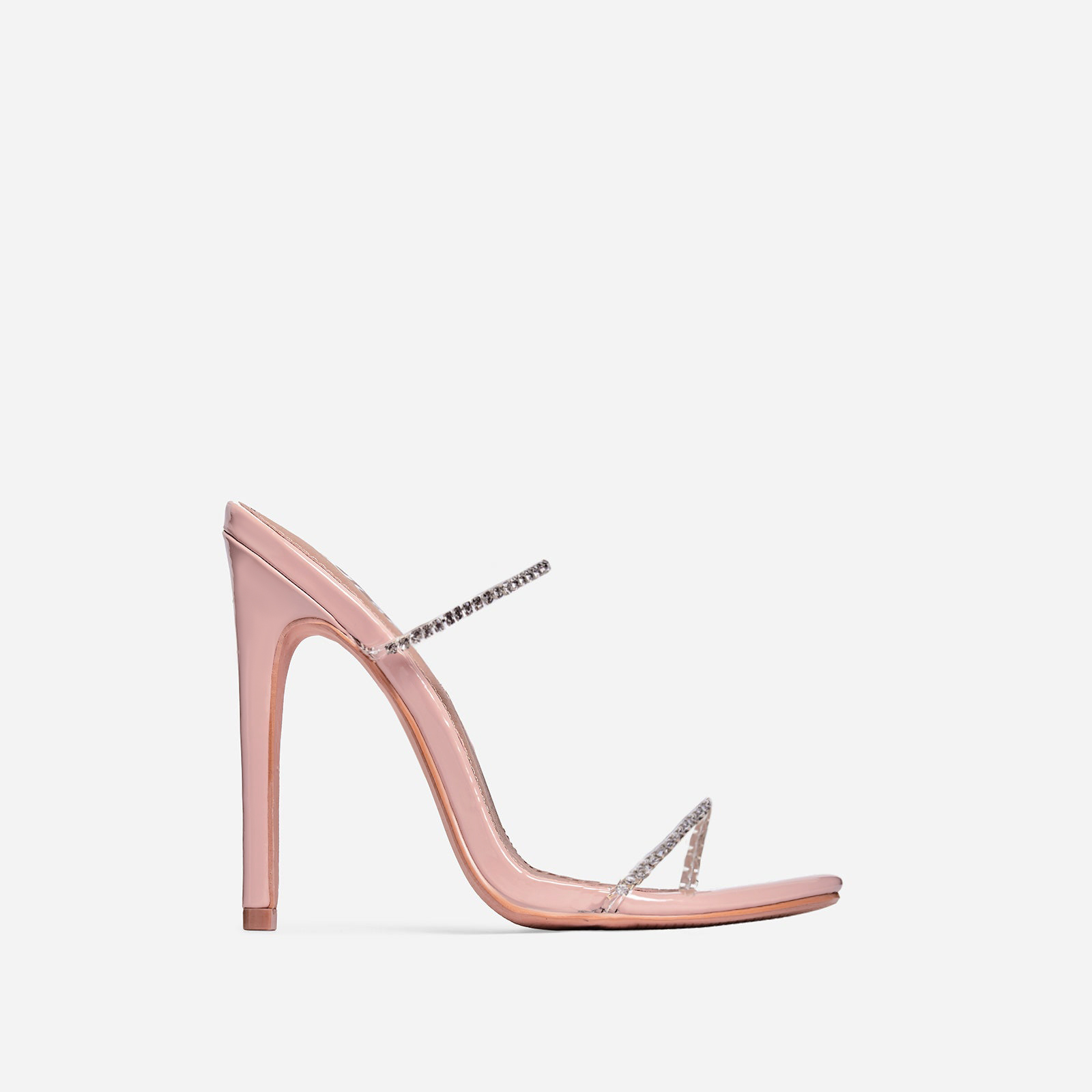 Chaos Diamante Detail Barely There Heel Mule In Nude Patent