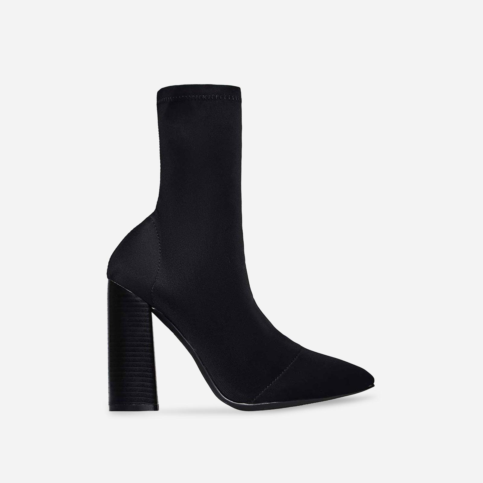 Charlie Block Heel Ankle Boot In Black Lycra Image 1