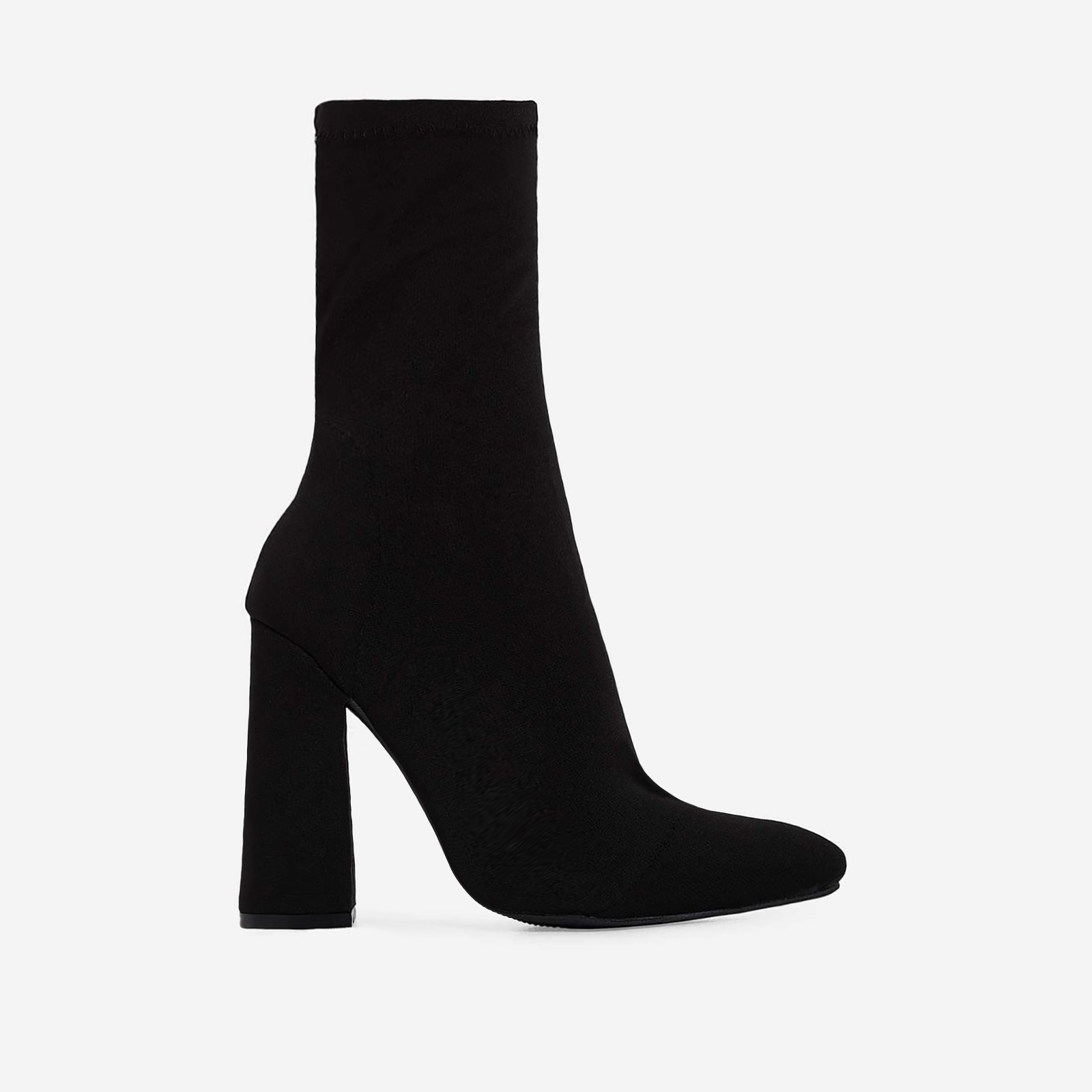Chesta Block Heel Ankle Boot In Black Lycra