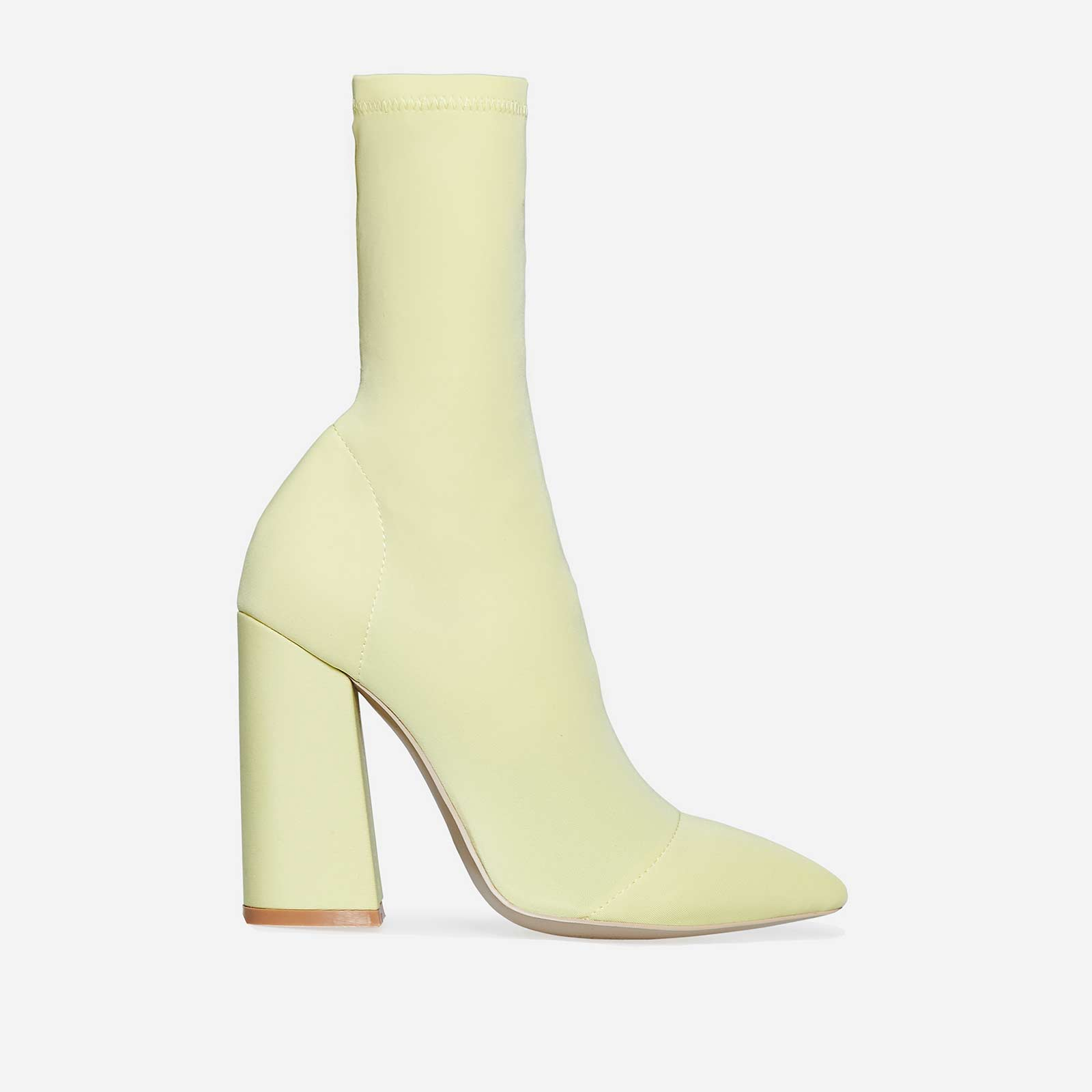 Chesta Block Heel Sock Boot In Lemon Yellow Lycra