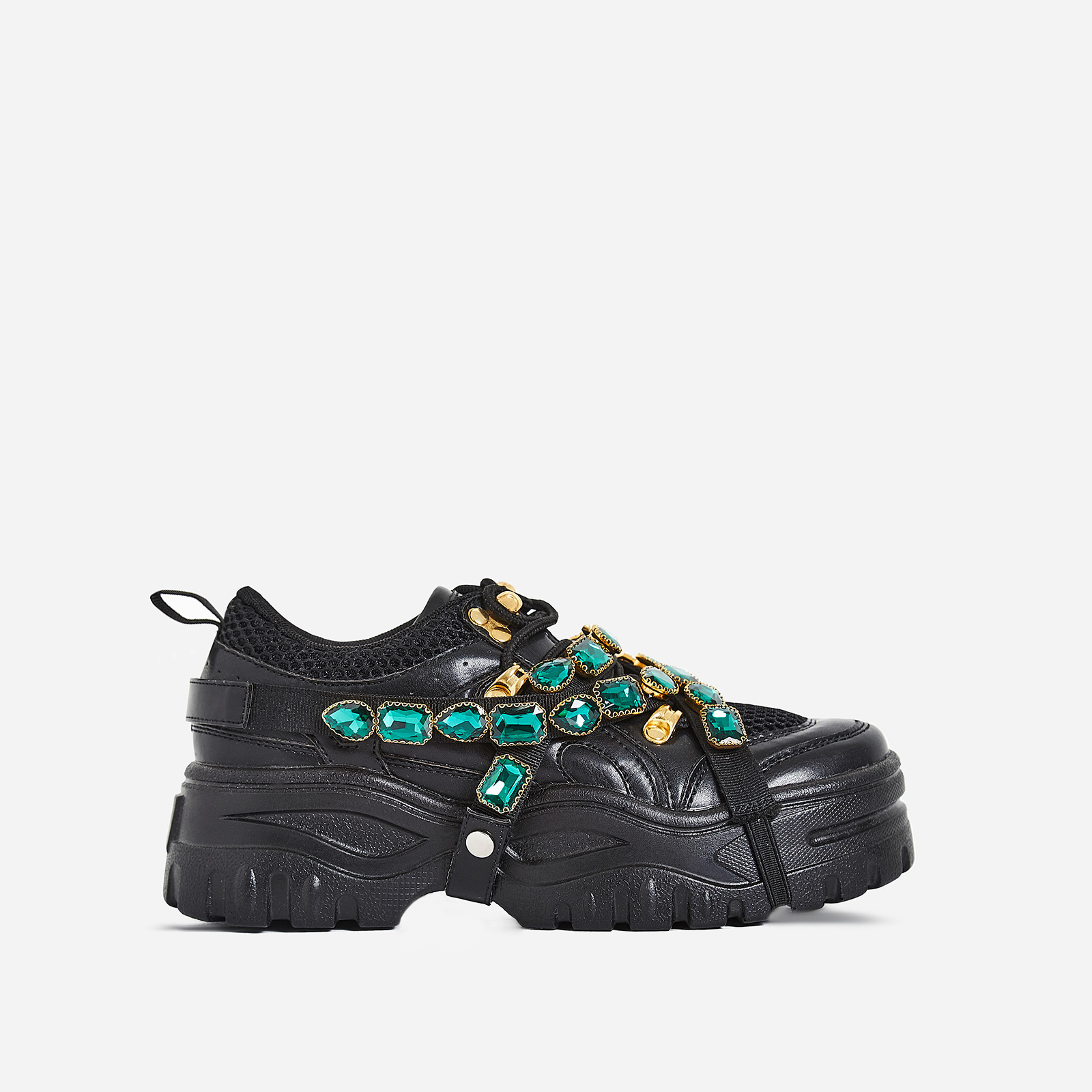 Fever Gem Embellished Trainers In Black Faux Leather