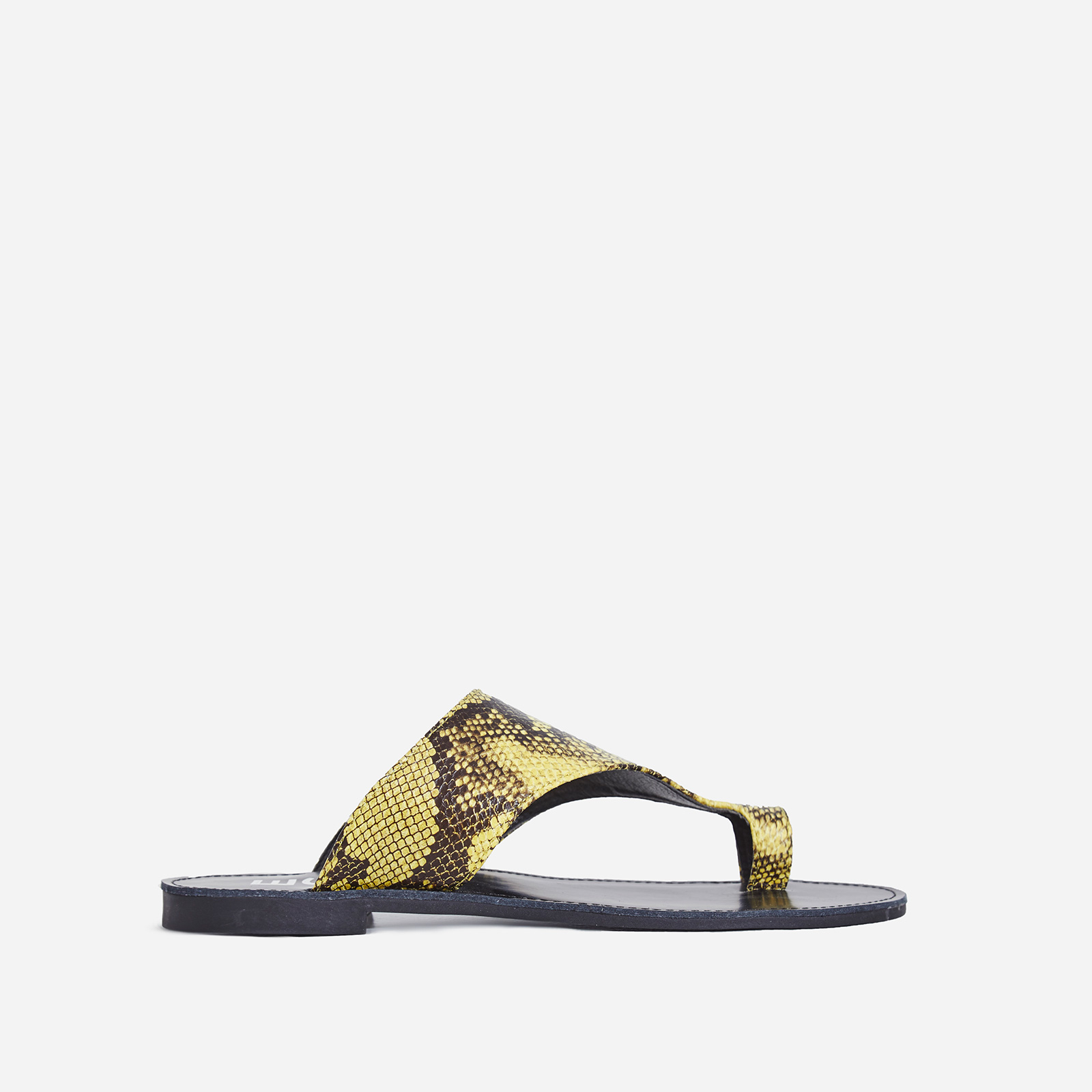 Cleo Toe Strap Slider In Yellow Snake Print Faux Leather