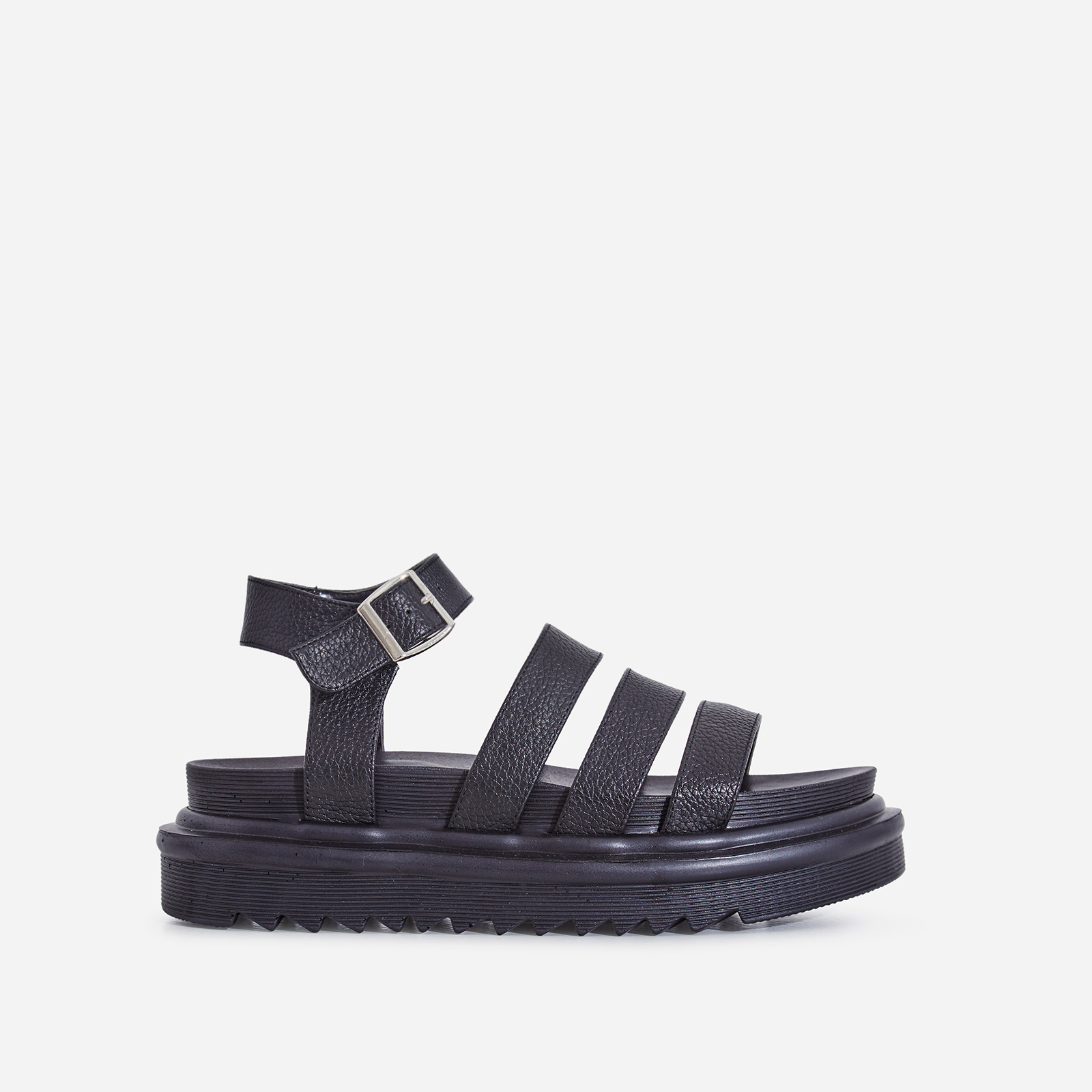 Clueless Chunky Sole Sandal In Black Faux Leather