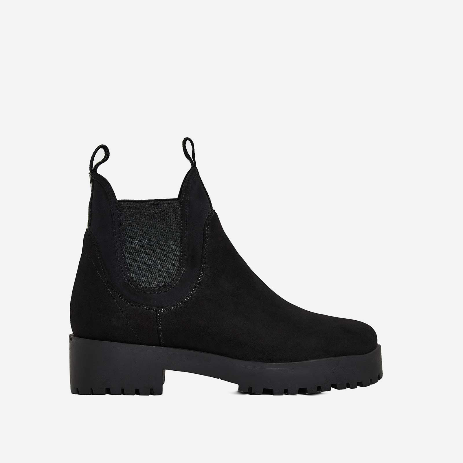 Cody Black Lycra Trim Ankle Boot In Black Faux Suede