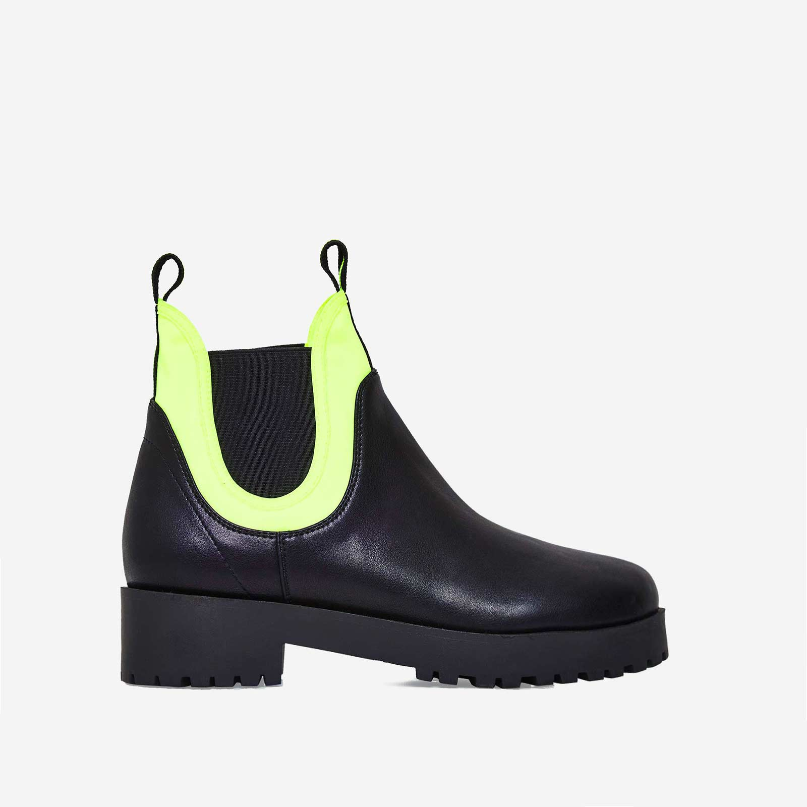 Cody Neon Yellow Lycra Trim Ankle Boot In Black Faux Leather