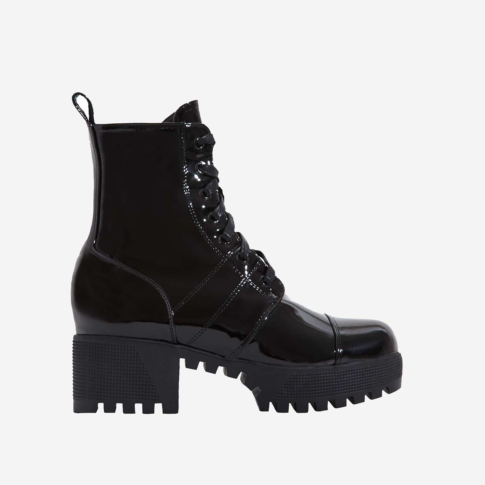 Cooper Chunky Sole Lace Up Boot In Ankle Biker Boot In Black Patent
