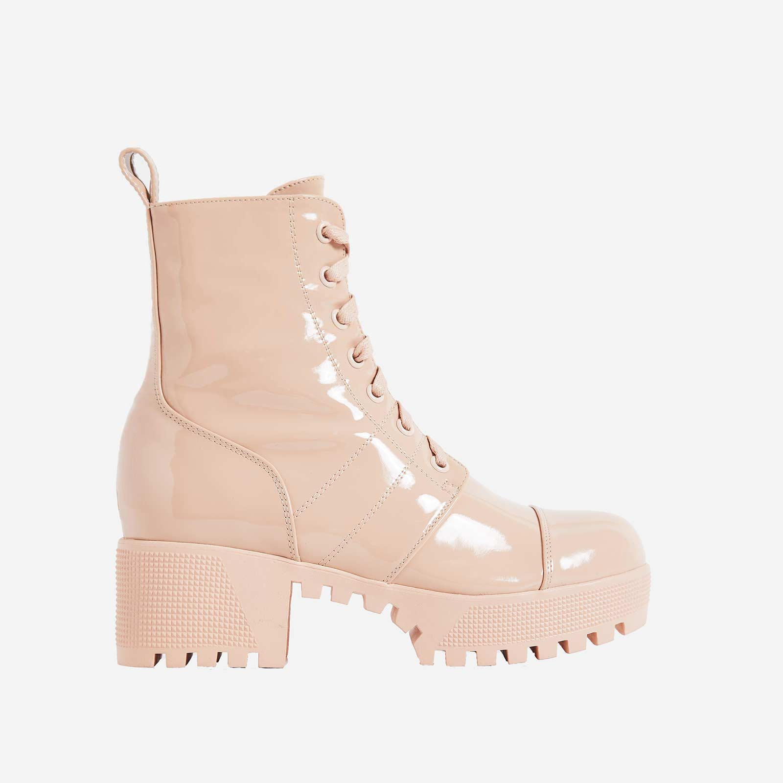 Cooper Chunky Sole Lace Up Boot In Ankle Biker Boot In Nude Patent