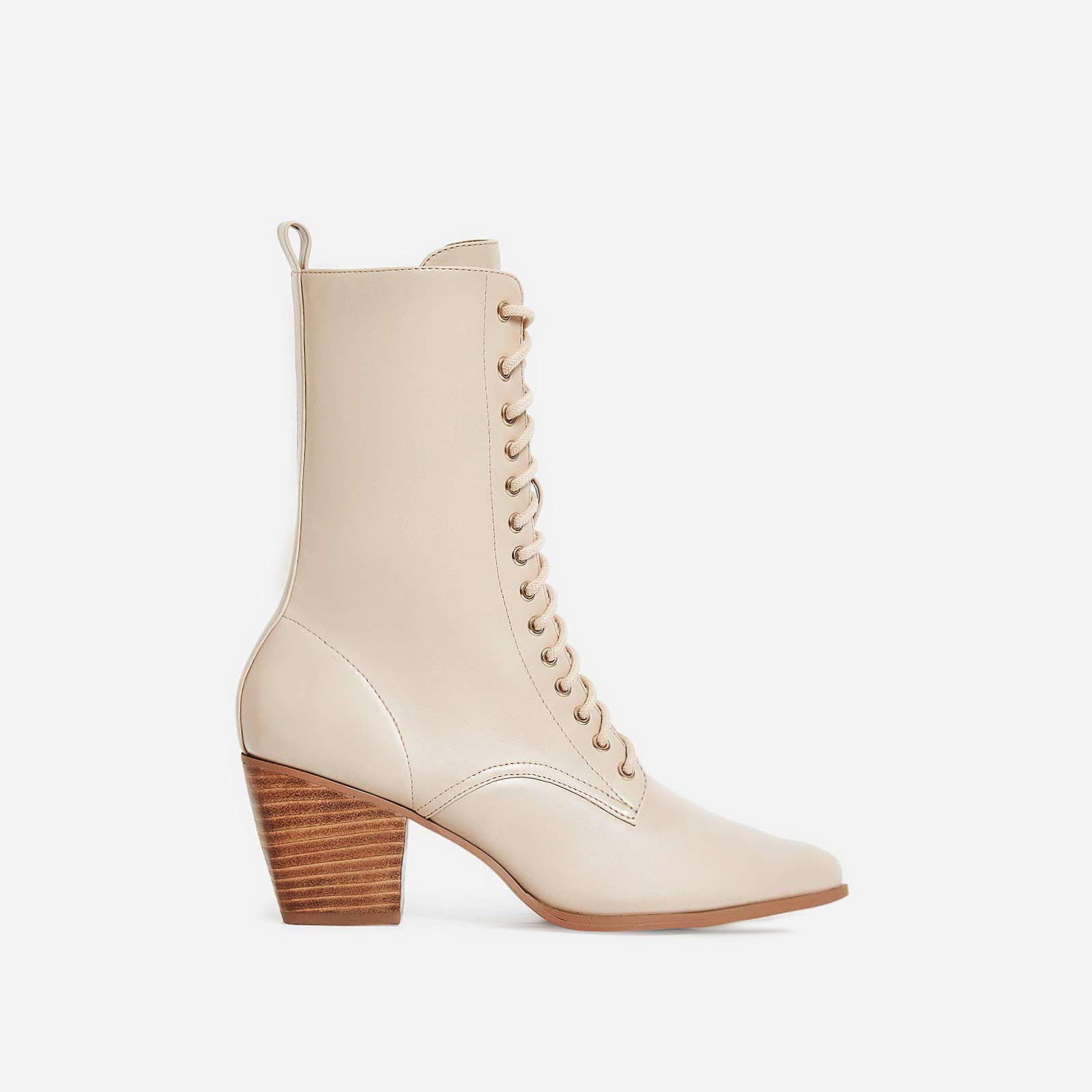 Corley Lace Up Ankle Boot In Nude Faux Leather