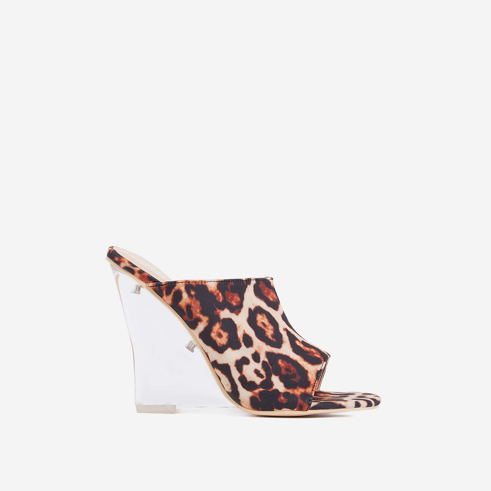 Candy Perspex Wedge Peep Toe Mule In Tan Leopard Print Faux Suede