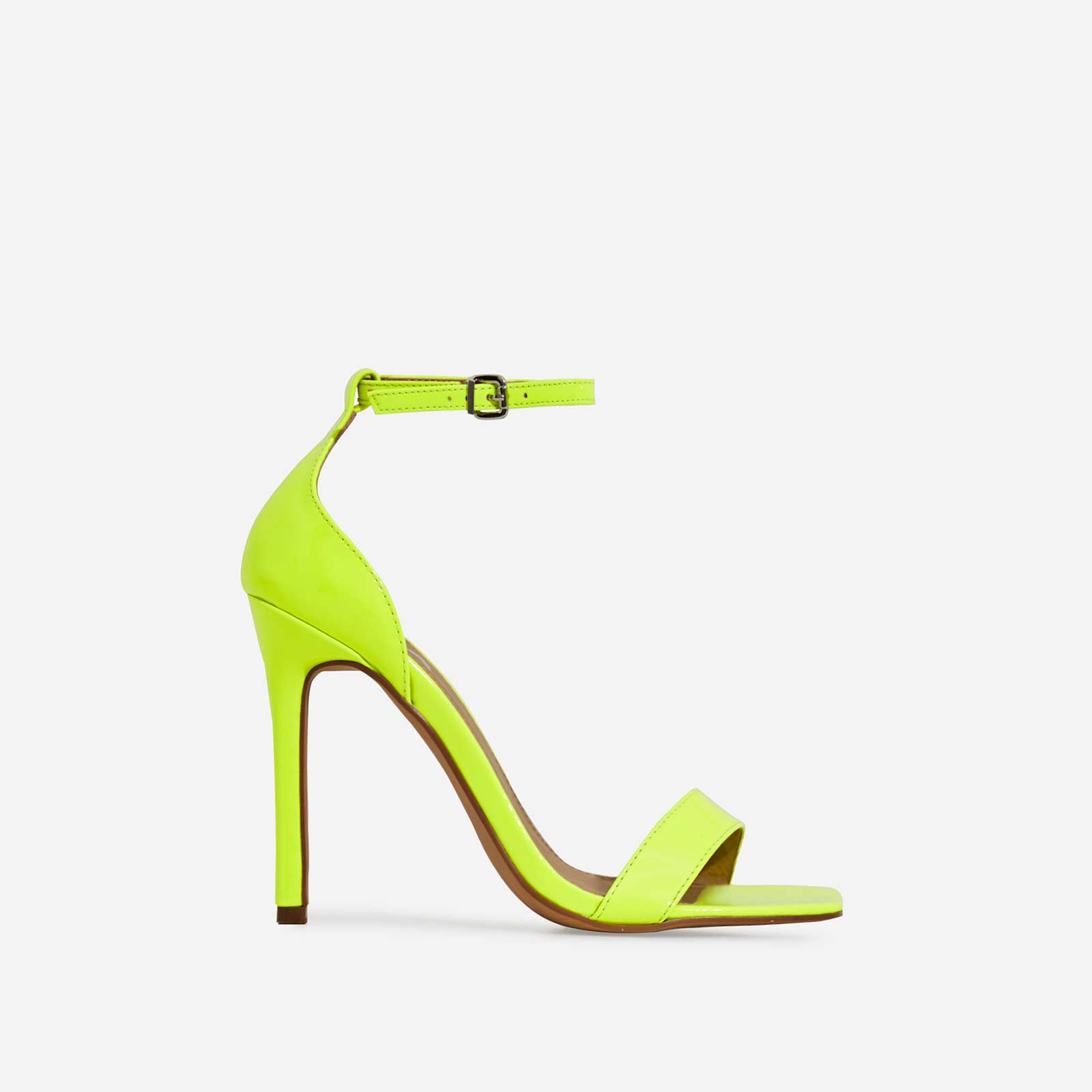 Court Barely There Square Toe Heel In Neon Lime Green Patent