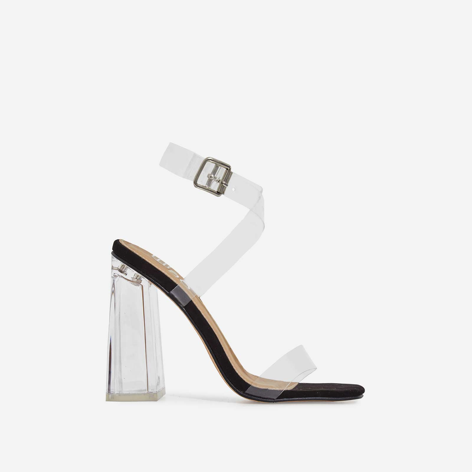 Saint Square Toe Perspex Flared Block Heel In Black Faux Suede