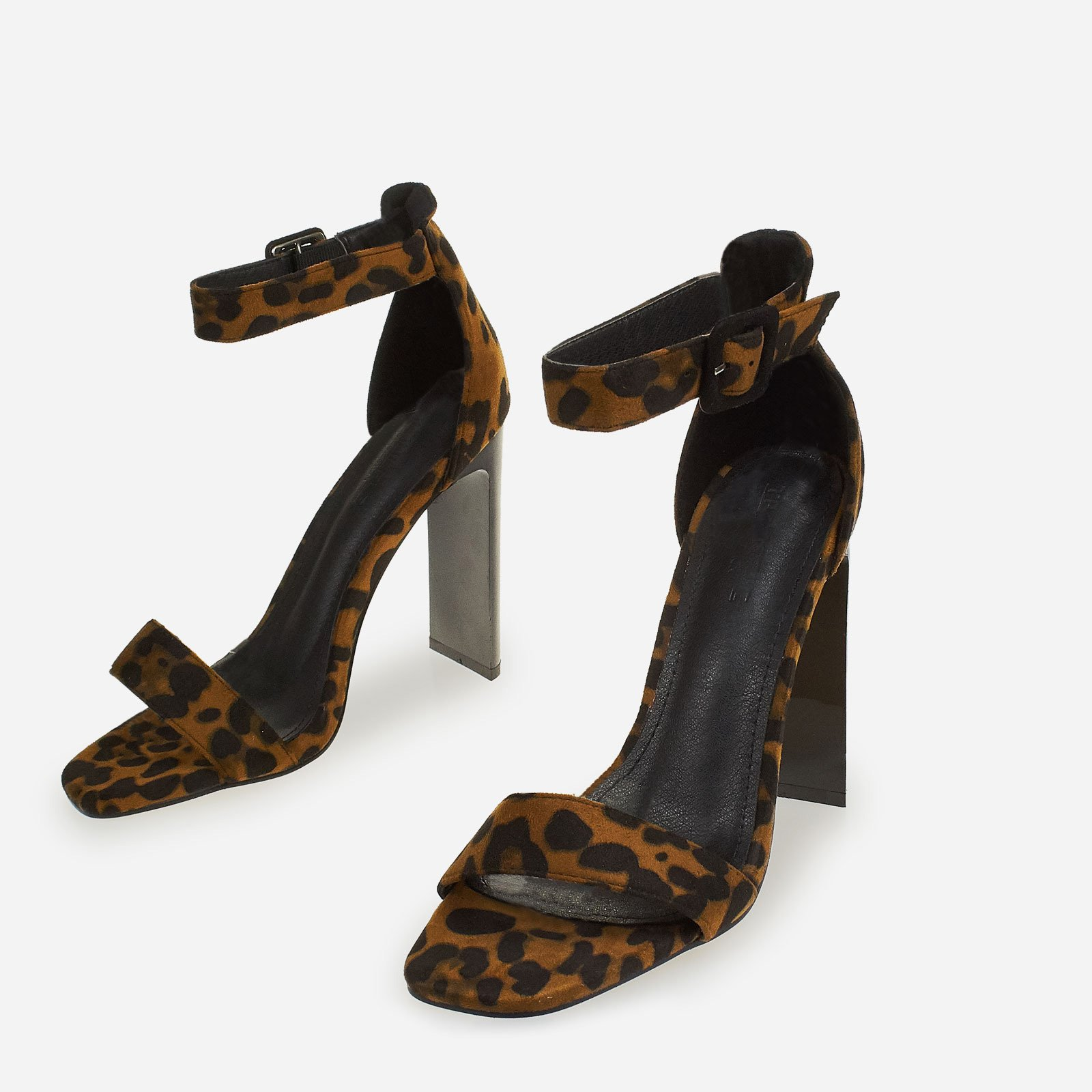 Charlie Thin Block Heeled Sandal In Leopard Print Faux Suede