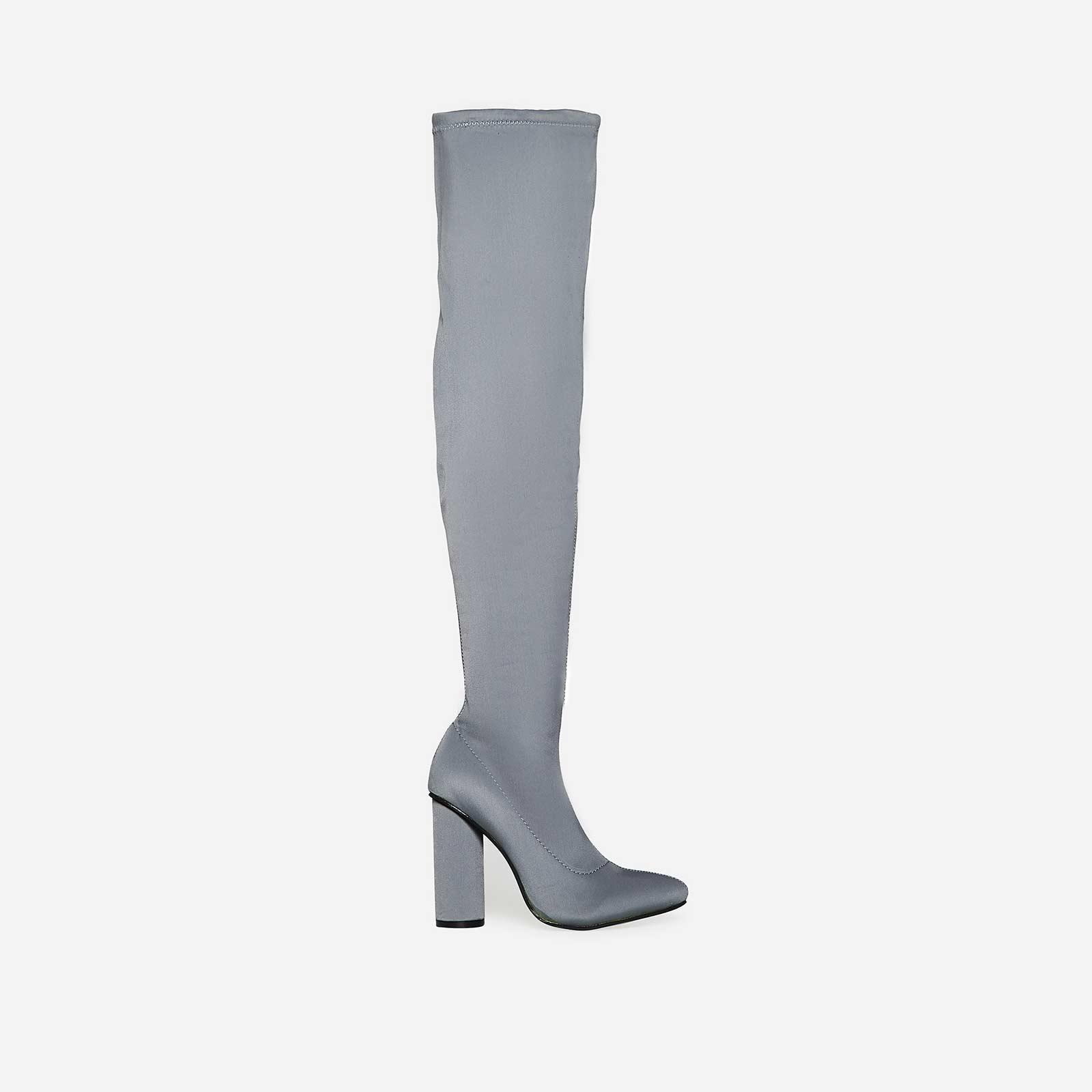 Jaxx Long Boot In Light Grey Lycra