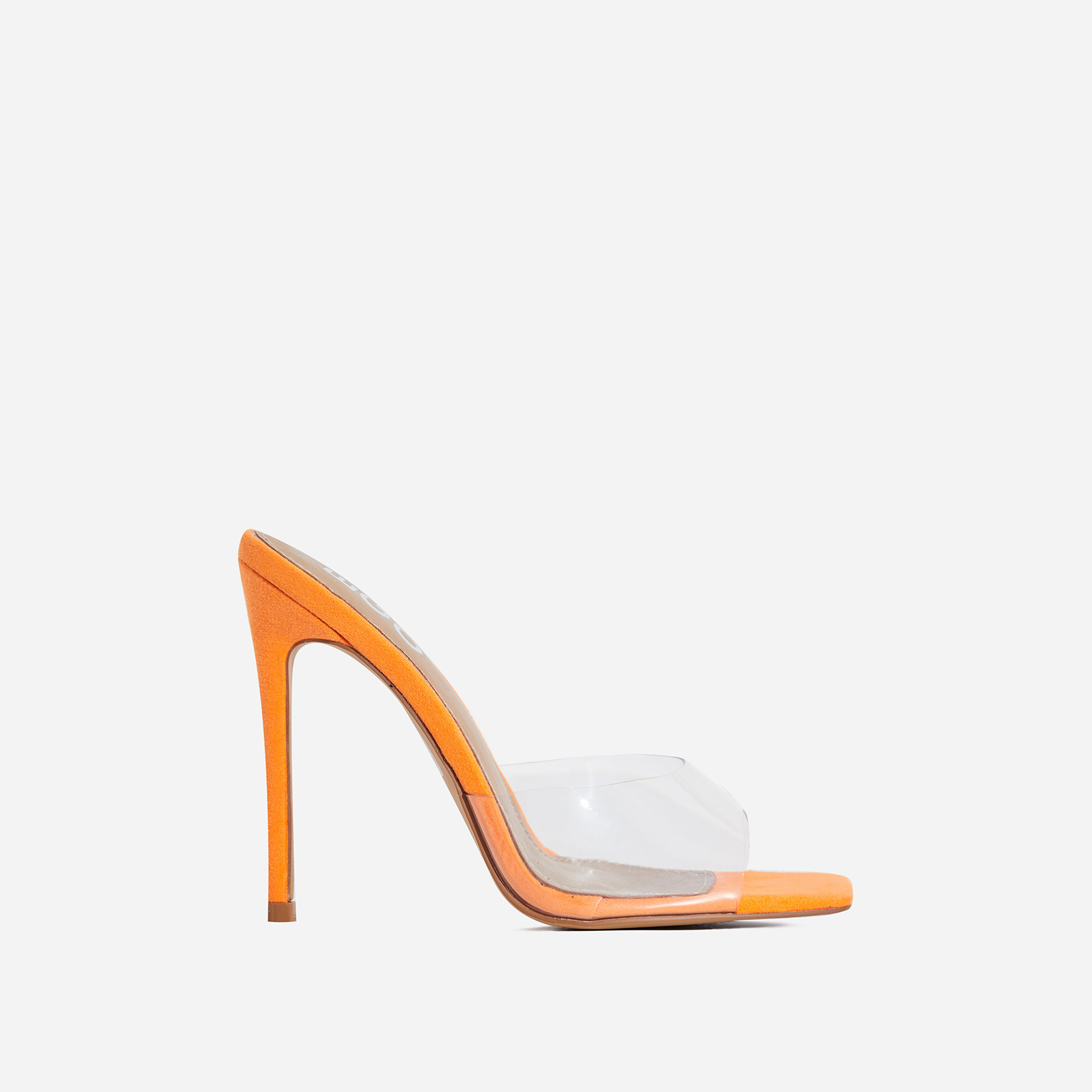 Cyan Square Toe Perspex Peep Toe Mule In Orange Faux Suede