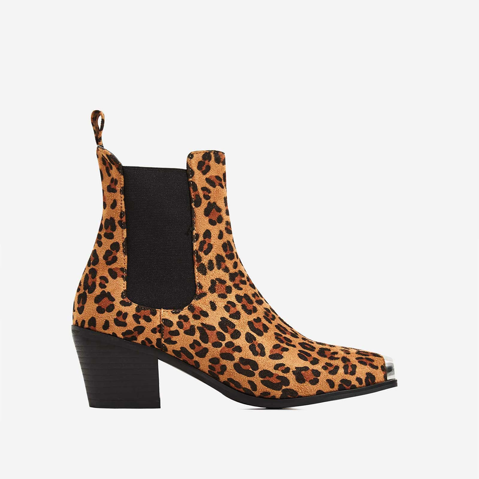 Darcy Toe Cap Western Ankle Boot In Tan Leopard Print Faux Suede