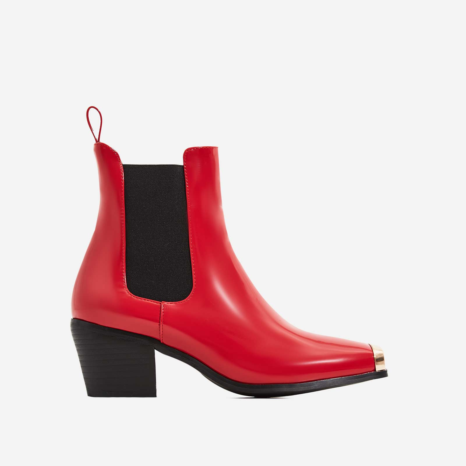 Darcy Toe Cap Western Ankle Boot In Red Patent