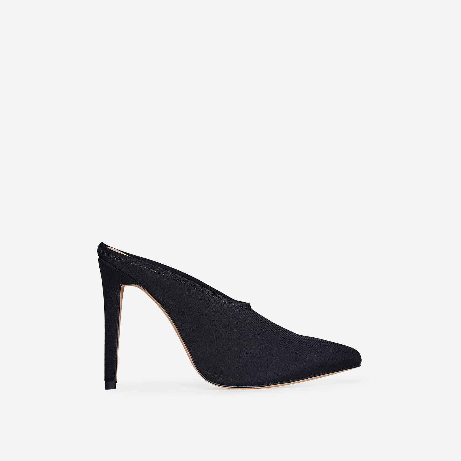Darla Closed Toe Mule Heel In Black Lycra