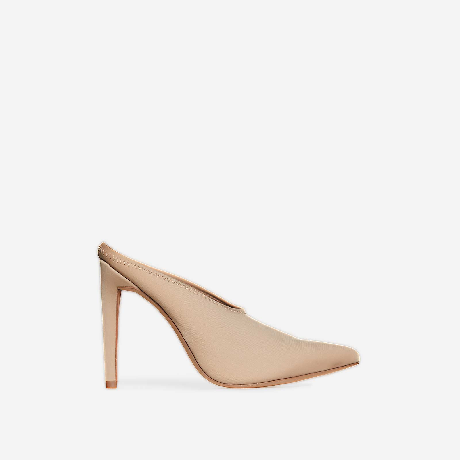 Darla Closed Toe Mule Heel In Nude Lycra