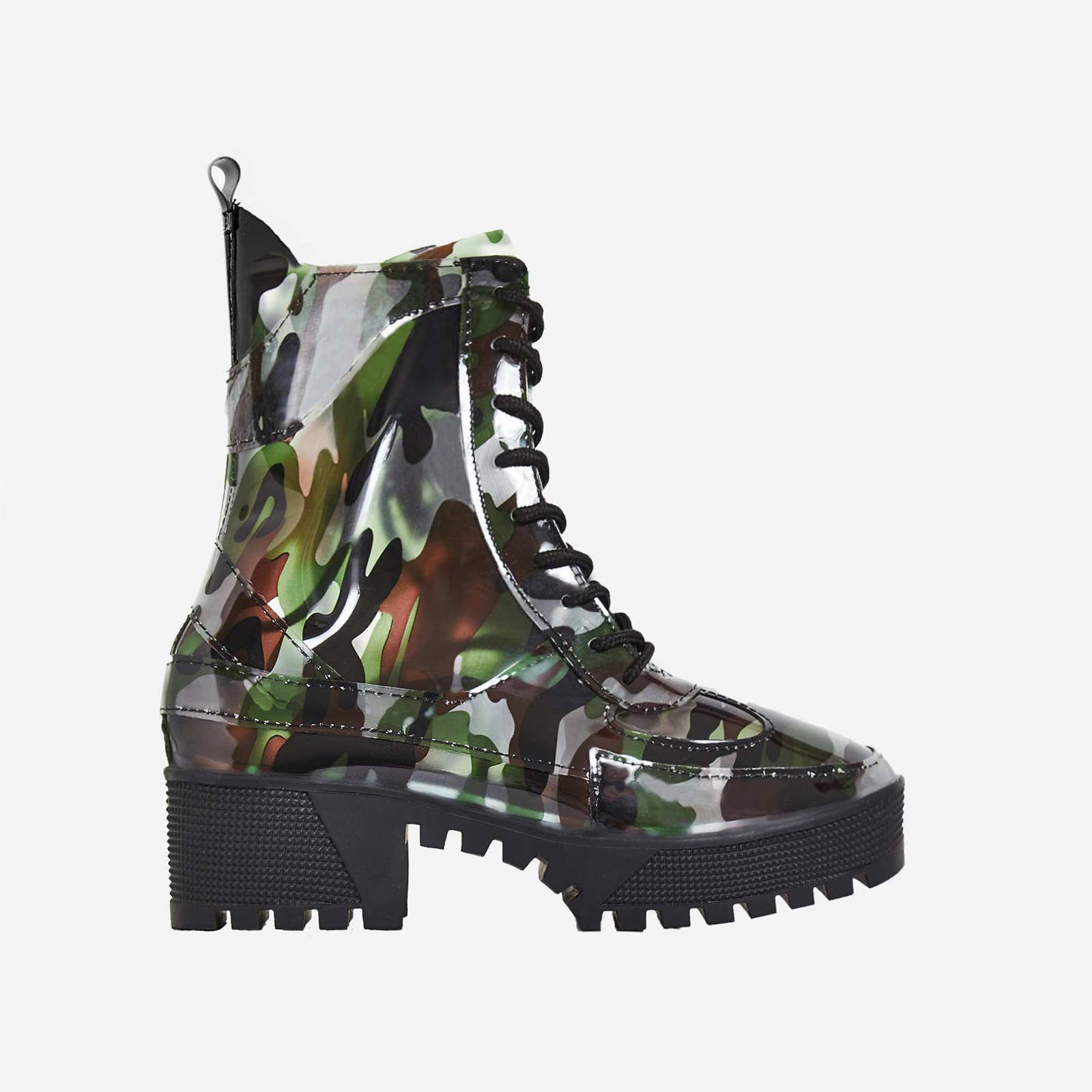 Dashing Chunky Sole Lace Up Ankle Boot In Camouflage Patent