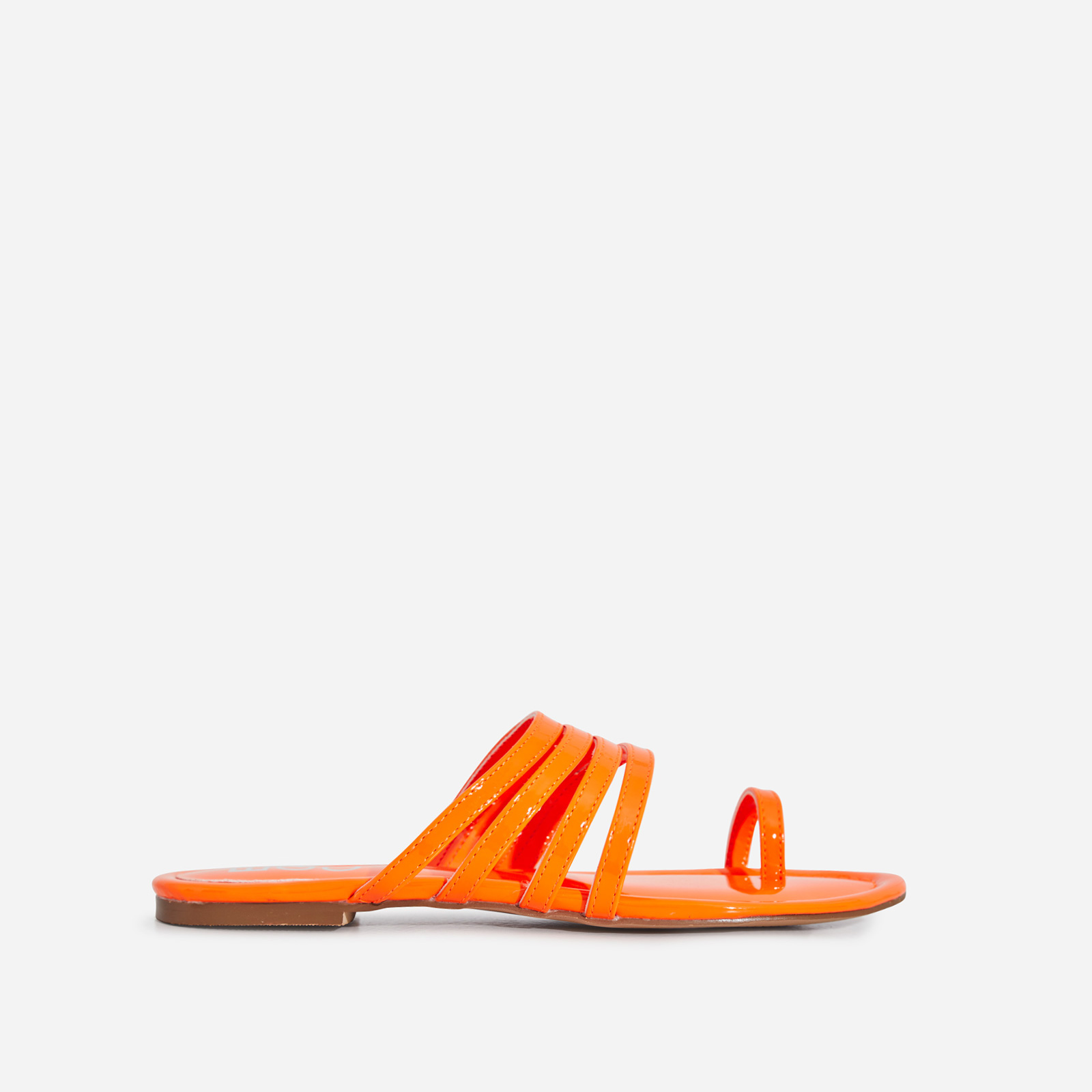 Dax Toe Strap Flat Sandal In Orange Patent