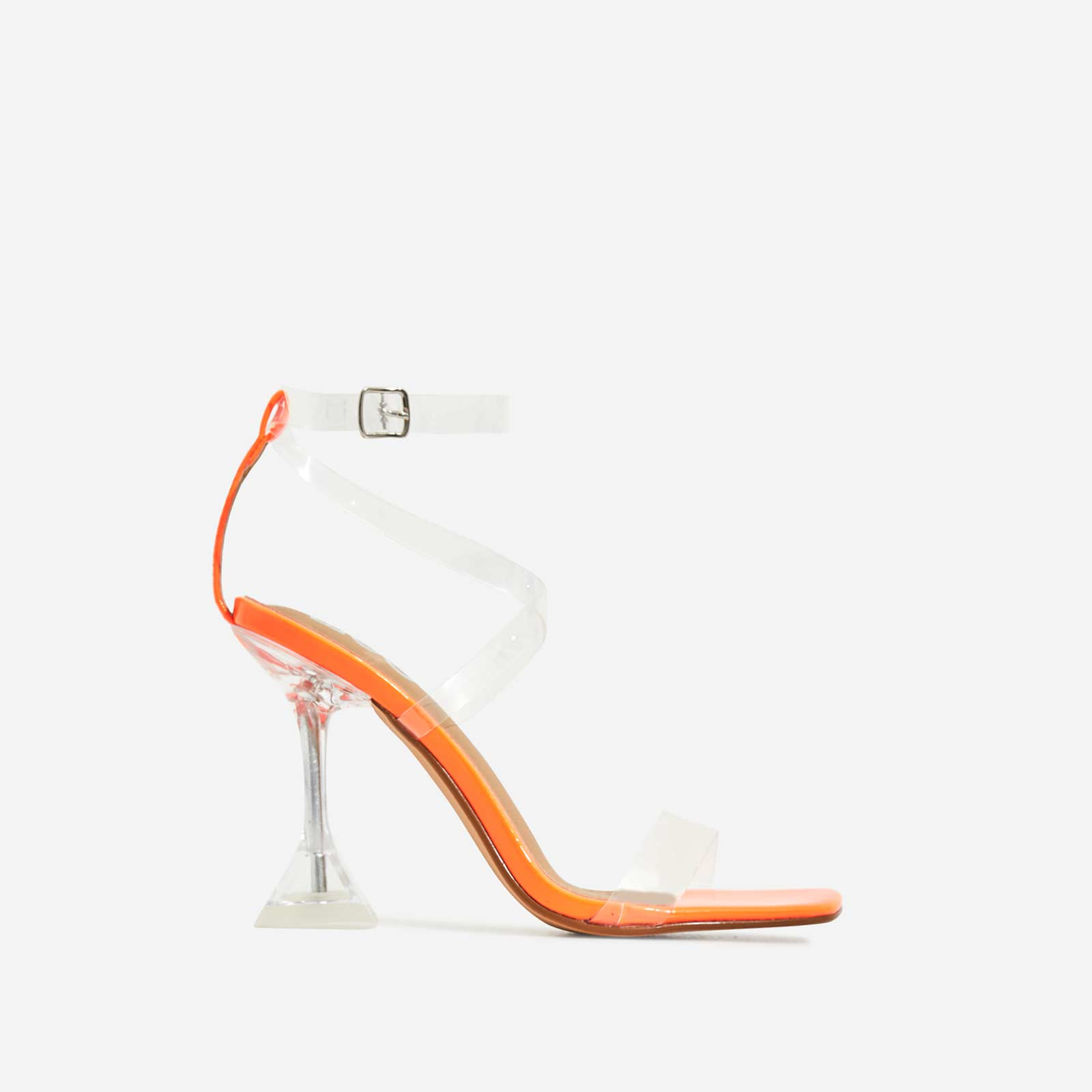 Daydream Barely There Square Toe Perspex Heel In Neon Orange Patent
