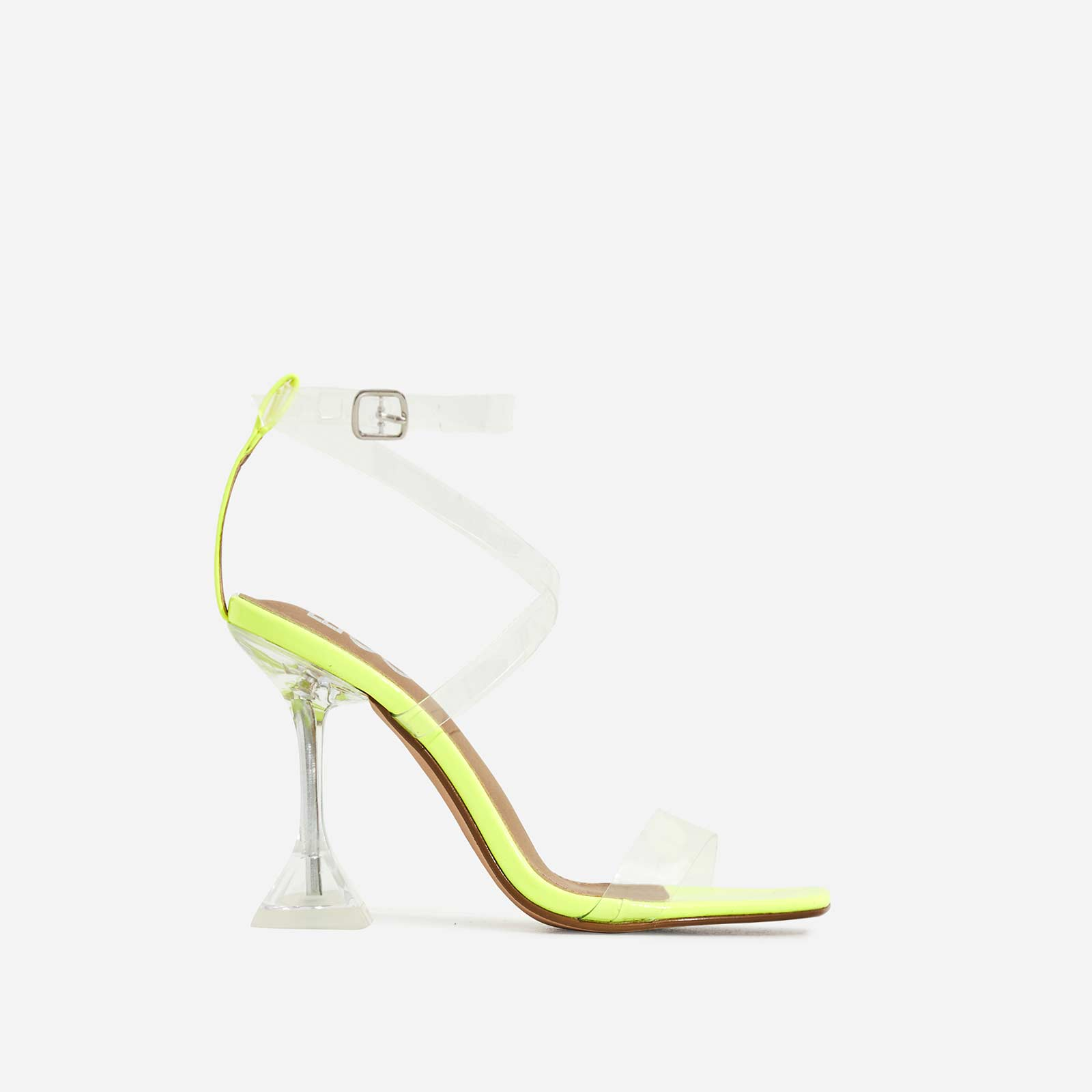 Daydream Barely There Square Toe Perspex Heel In Neon Yellow Patent