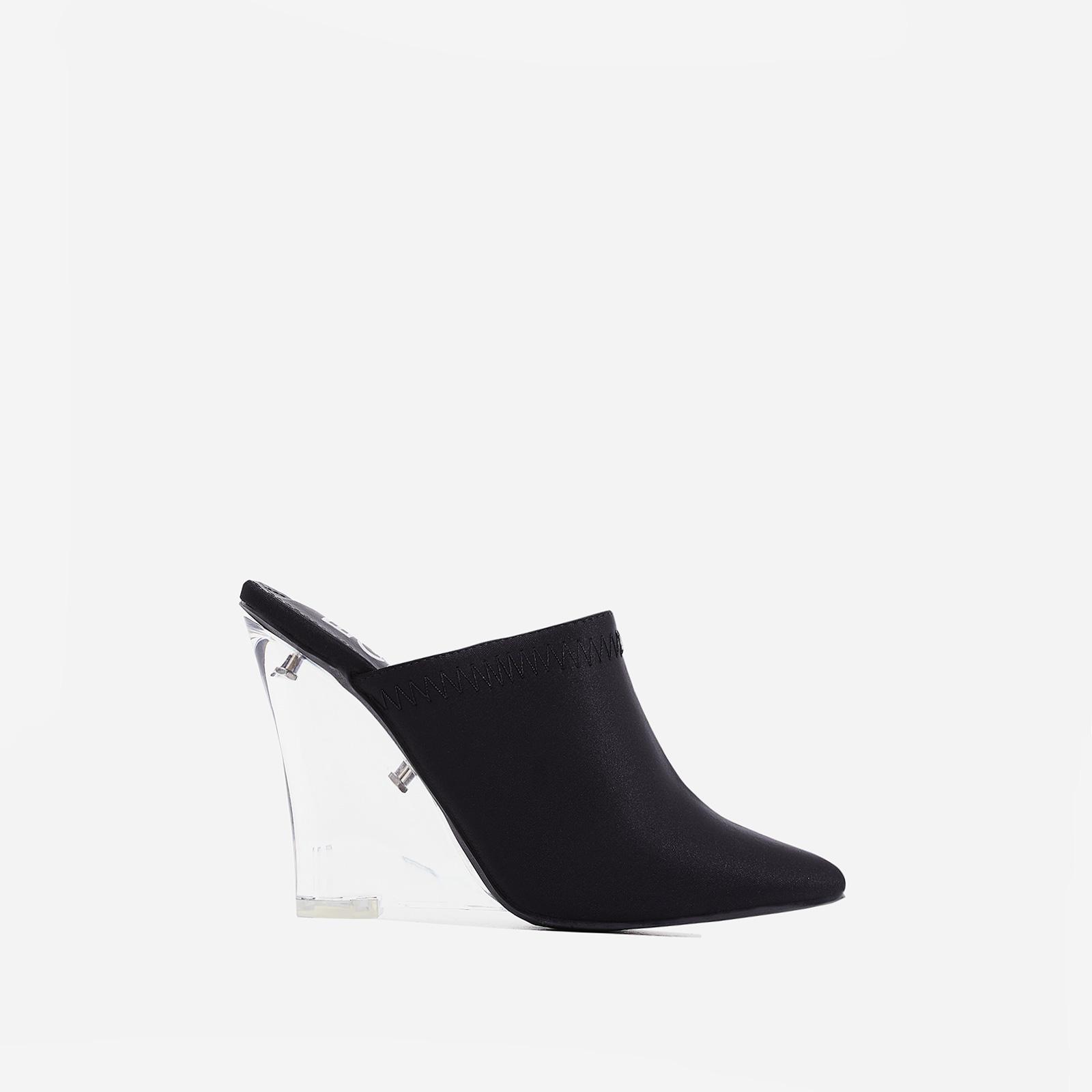 Dear Perspex Wedge Heel Mule In Black Lycra