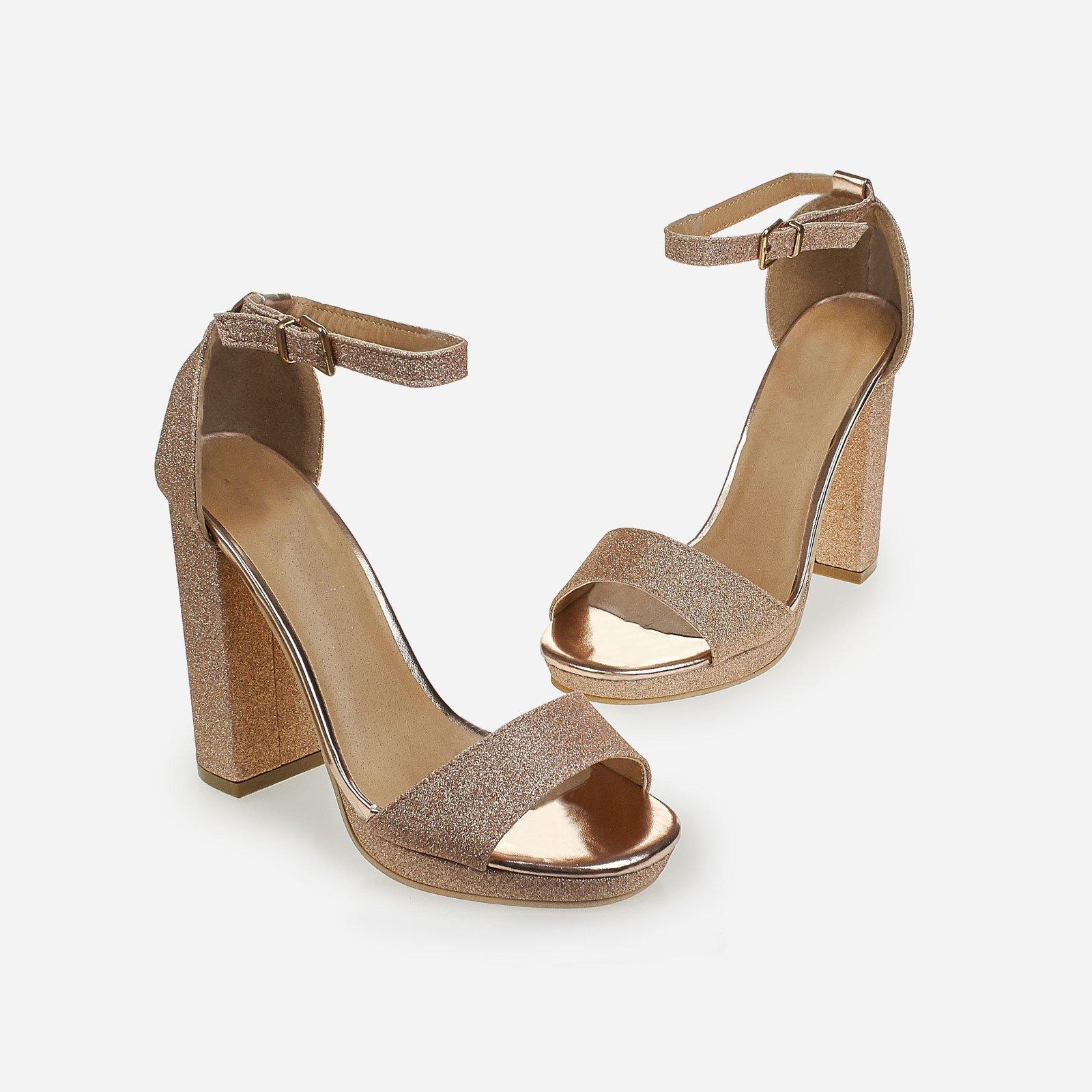 Chloe Block Heeled Sandal In Rose Gold Glitter