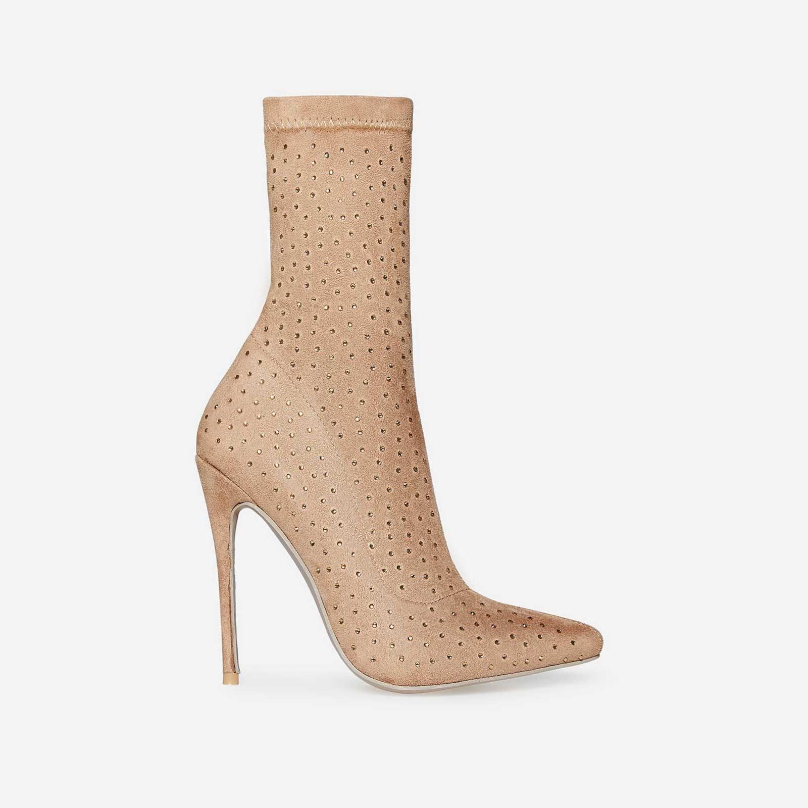 Deta Rose Gold Diamante Sock Boot In Nude Faux Suede